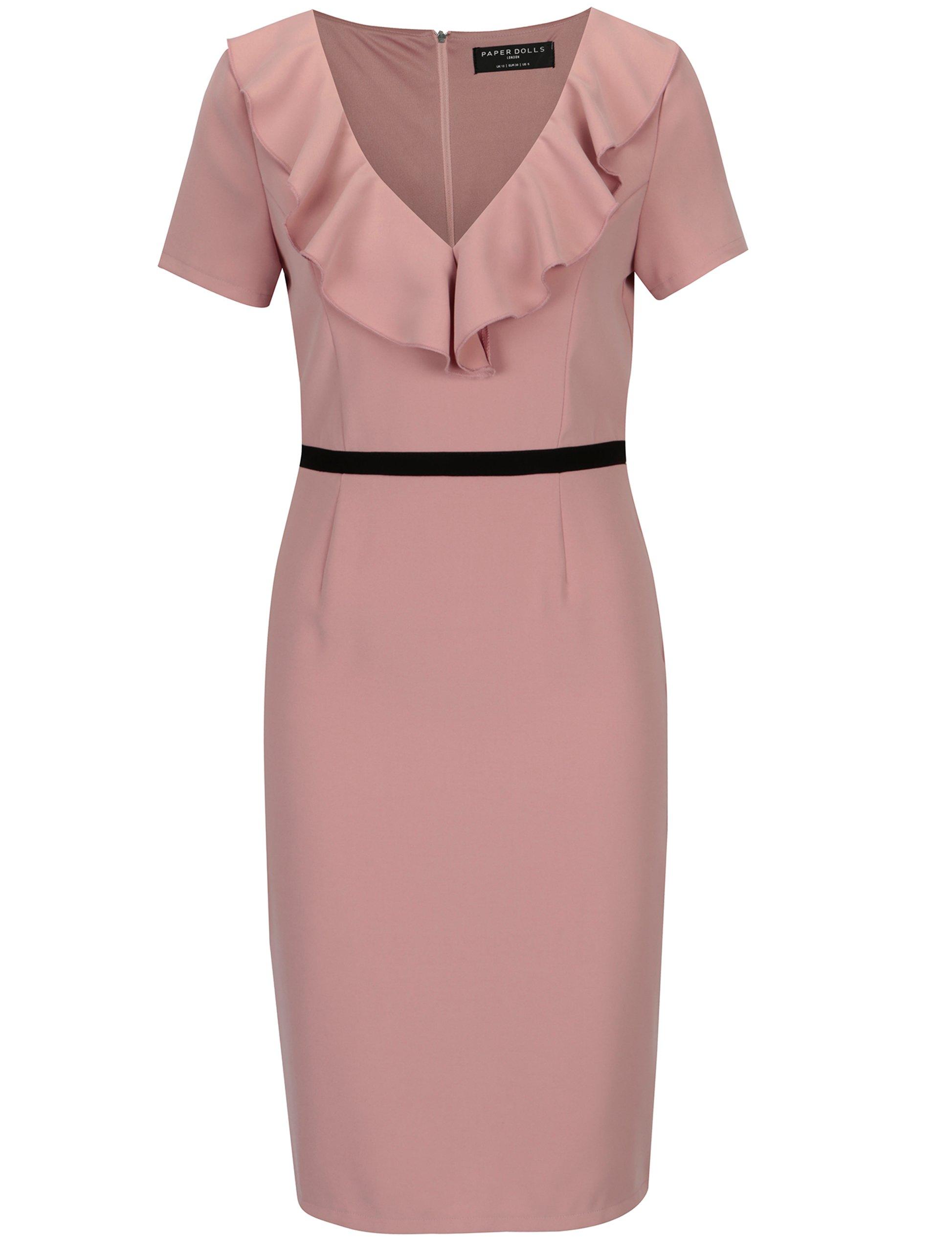 dee9d97f84d4 Růžové šaty s volánky ve výstřihu Paper Dolls