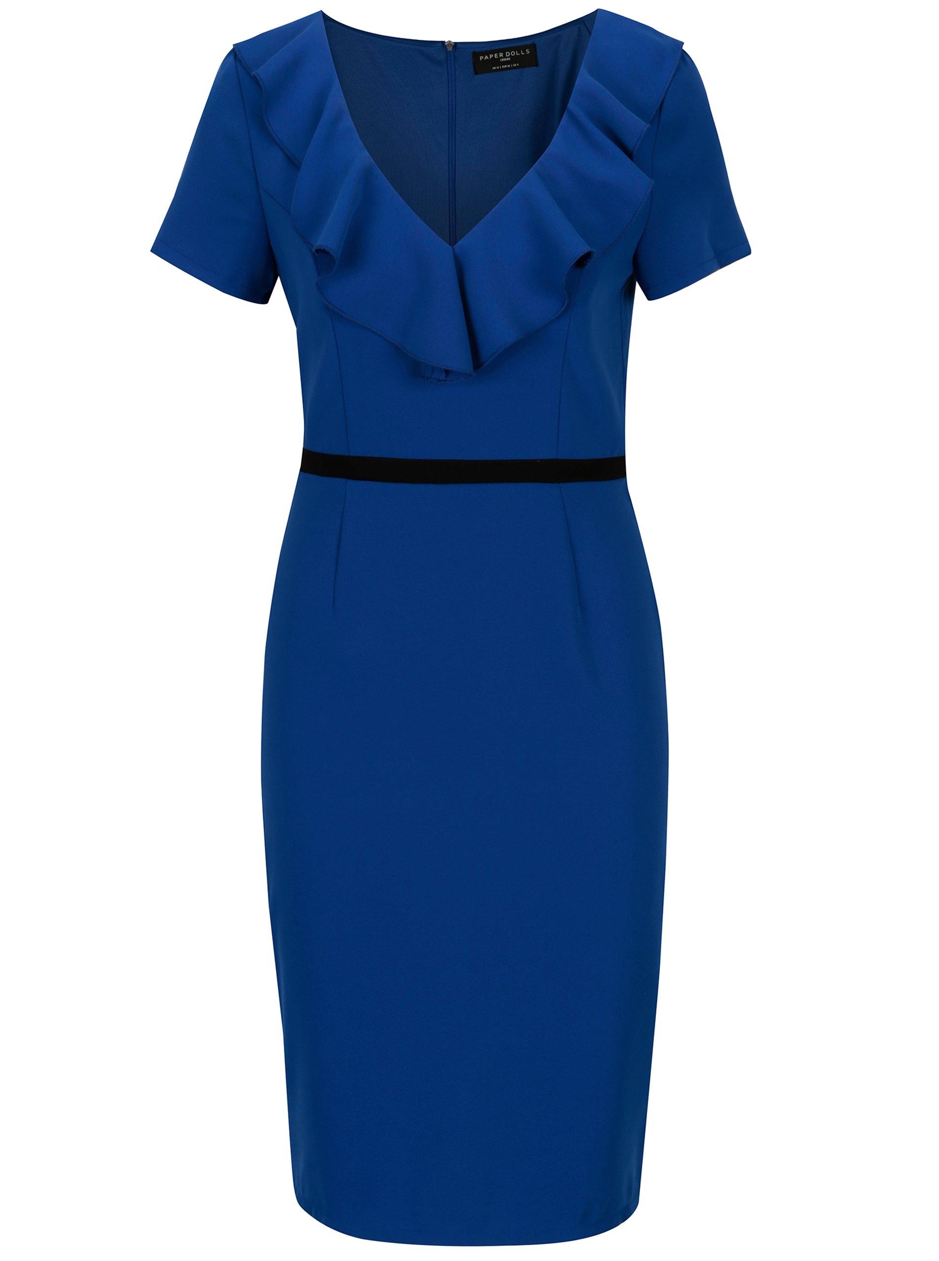 Modré šaty s volánikmi vo výstrihu Paper Dolls 94d9c1e7d04