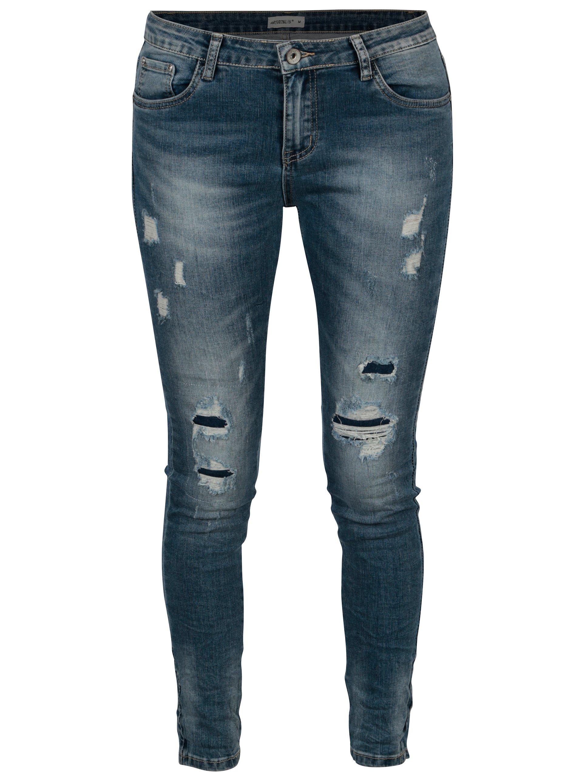 Modré slim džíny s potrhaným efektem Haily´s Nana