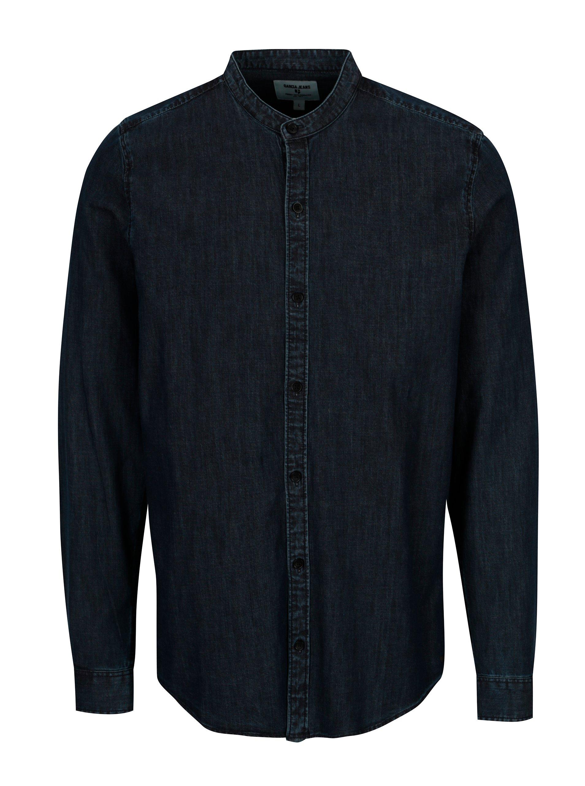 ca13a033edfb Tmavě modrá pánská džínová košile Garcia Jeans