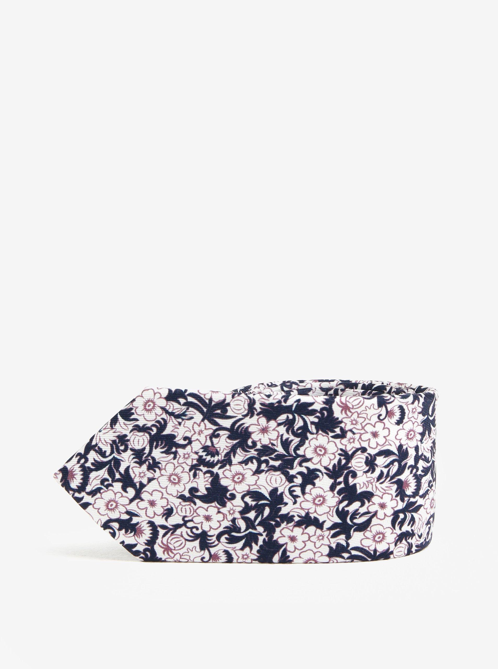Bílá květovaná kravata Jack & Jones Premium Crussel