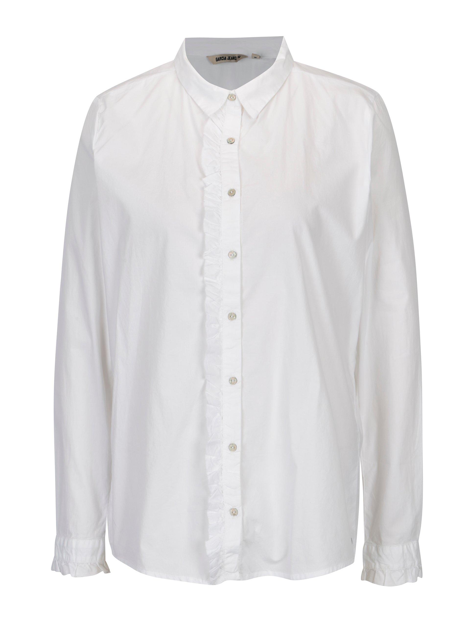 Bílá dámská košile s volánem Garcia Jeans