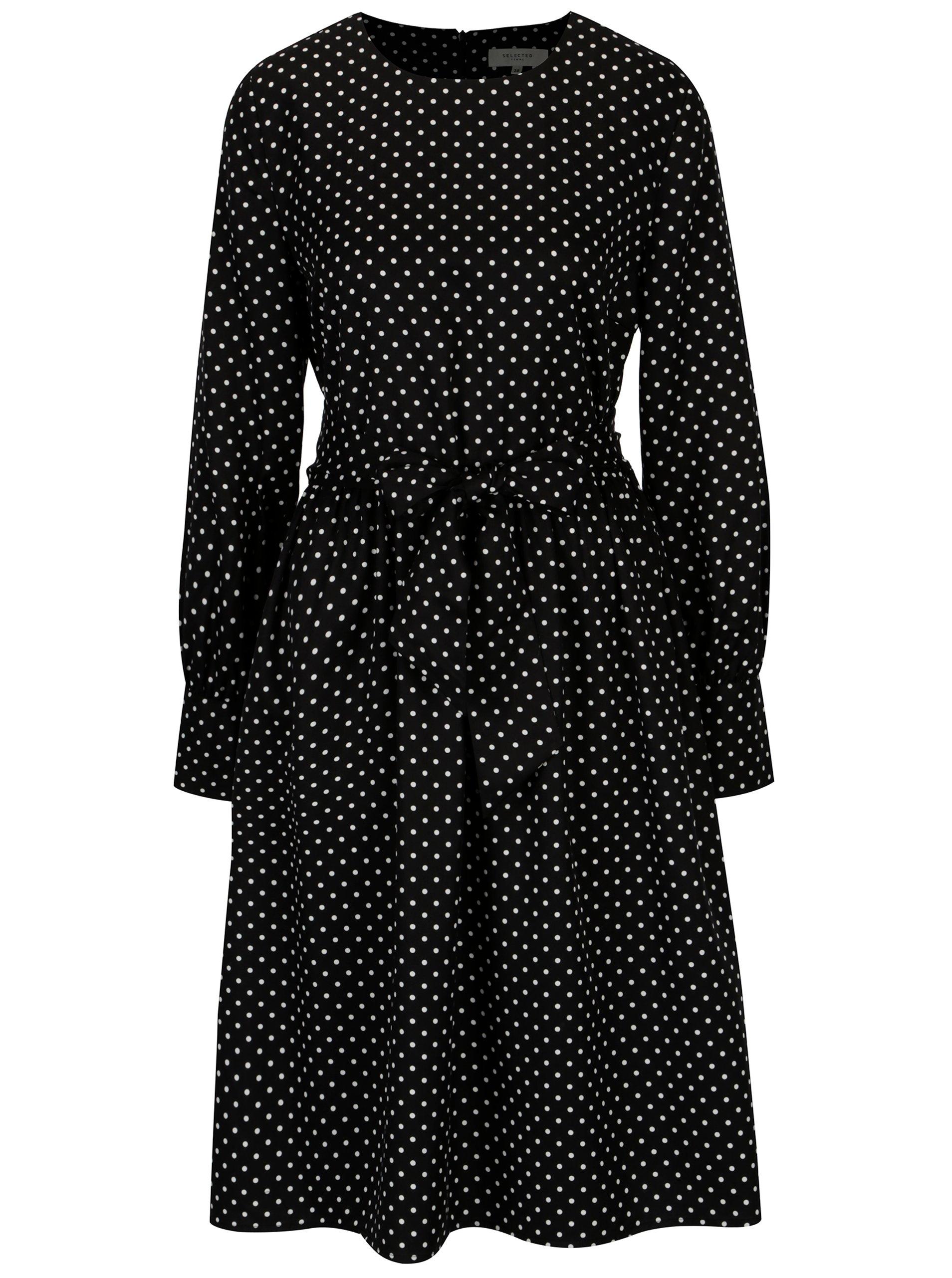 Černé puntíkované šaty se zavazováním Selected Femme Millado