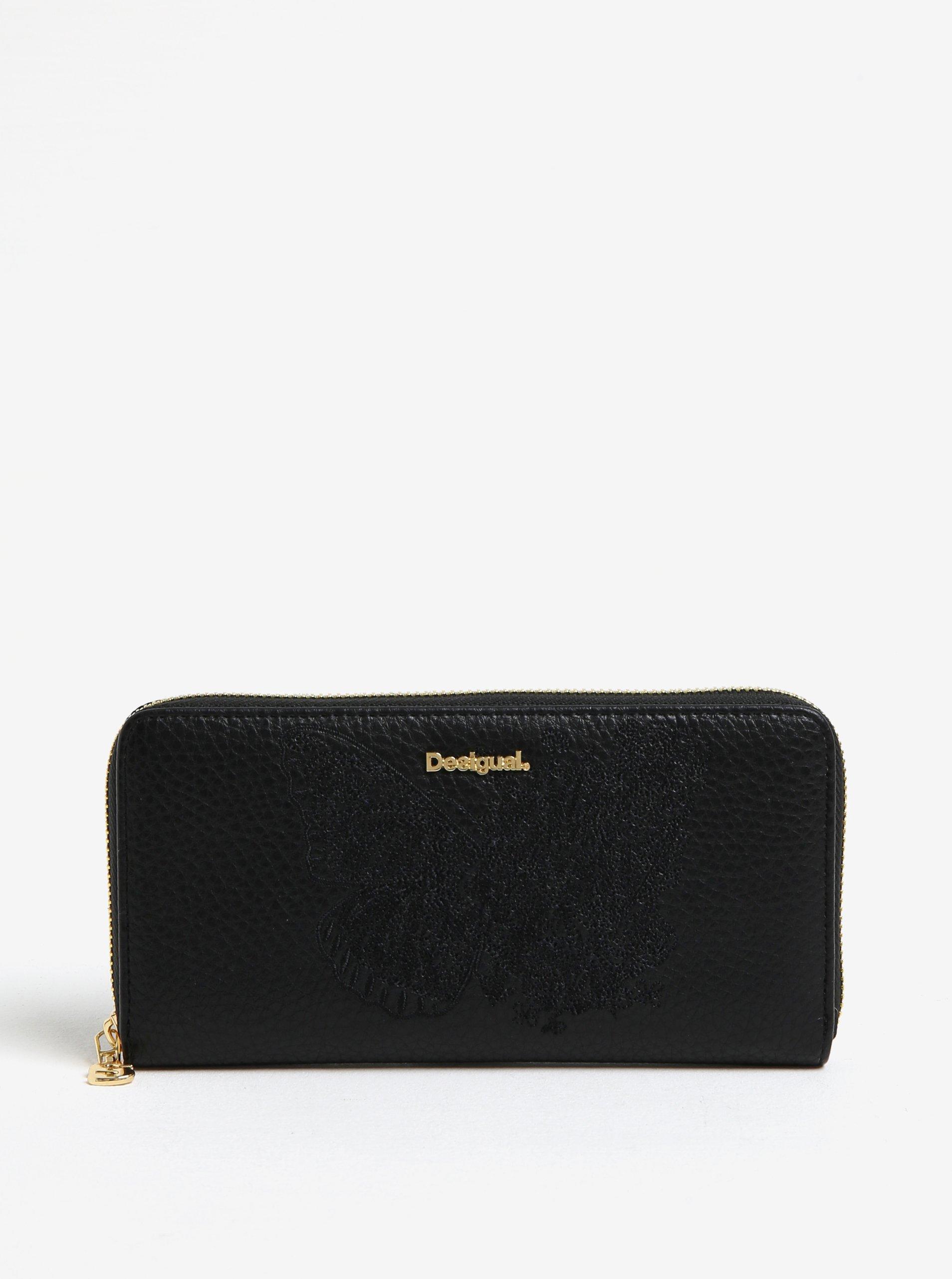 Černá peněženka s výšivkou motýla Desigual Ayla