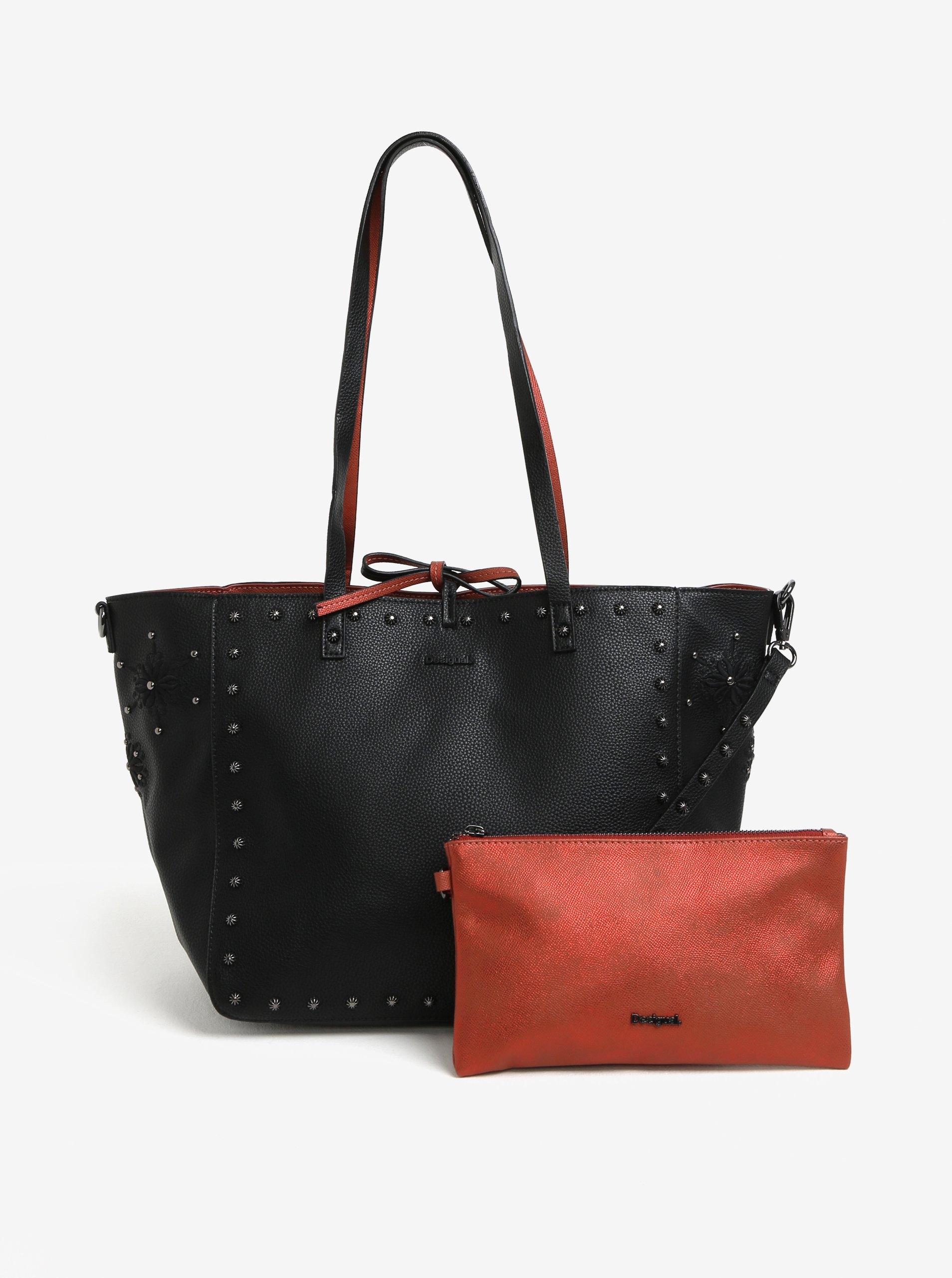Čierno-tehlový obojstranný shopper s listovou kabelkou 2v1 Desigual Portland