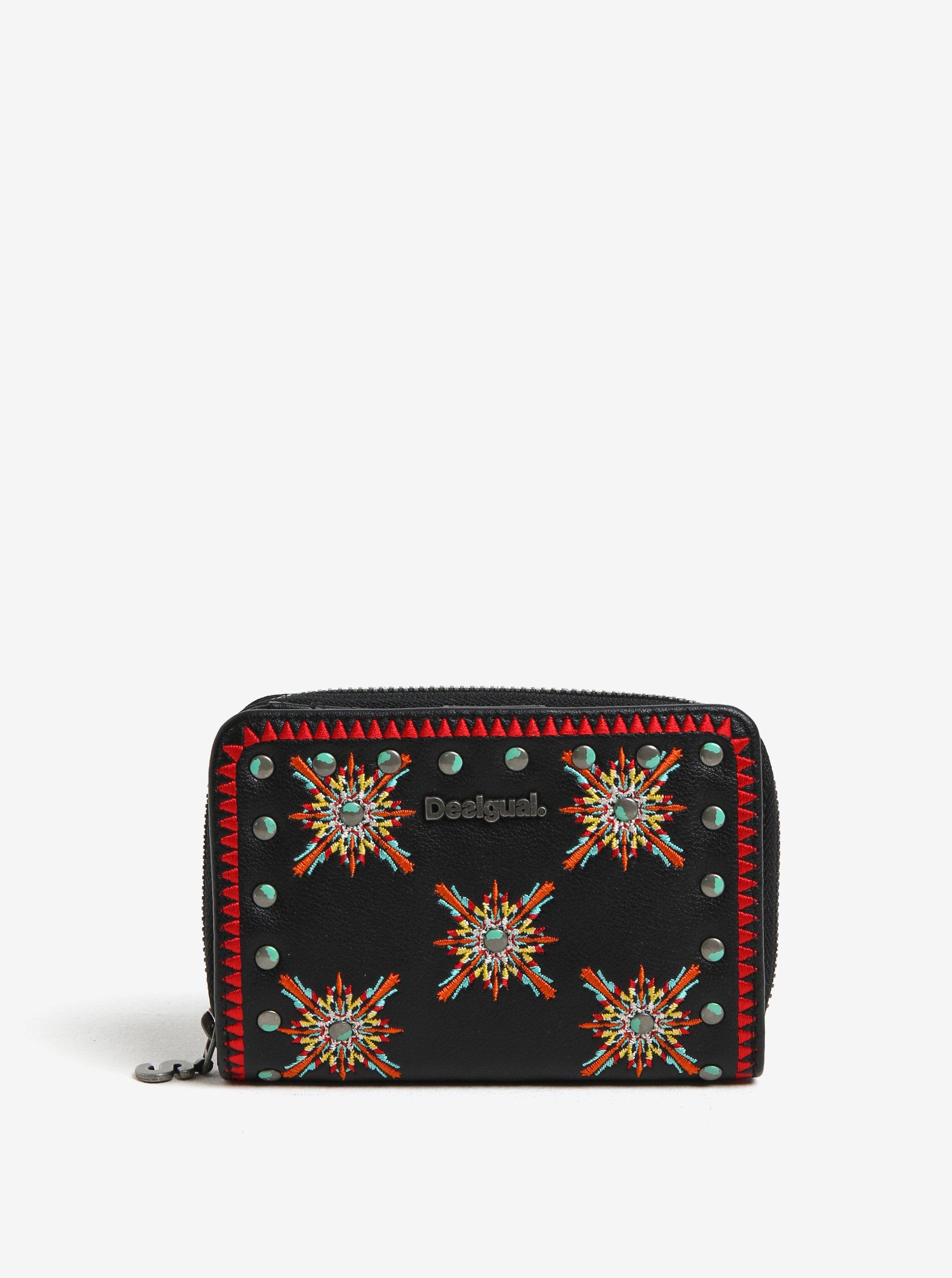 Čierna peňaženka s farebnými vyšitými ornamentami Desigual Sandy 44b2aac40b0
