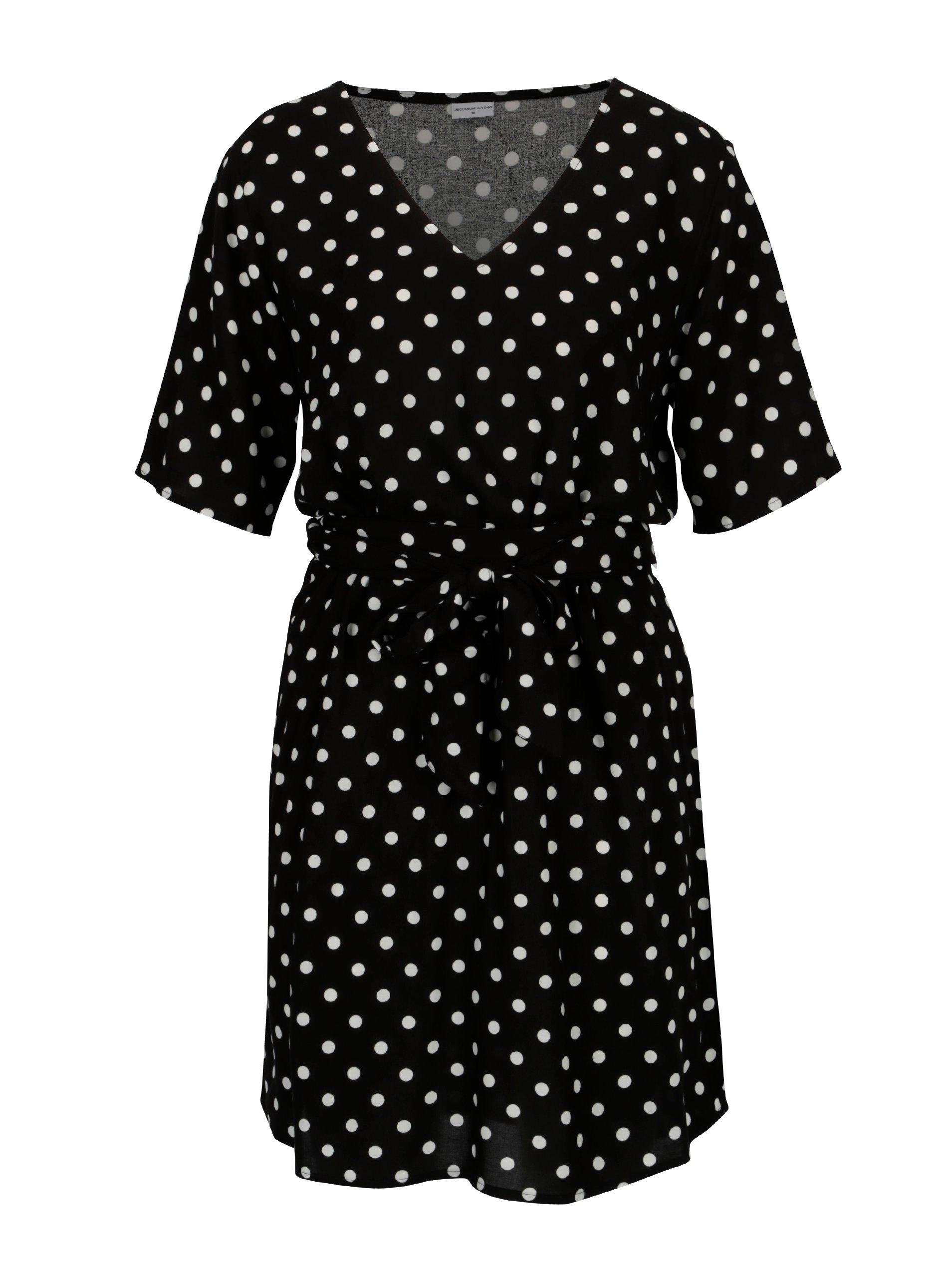 Černé puntíkované šaty s véčkovým výstřihem Jacqueline de Yong Ann