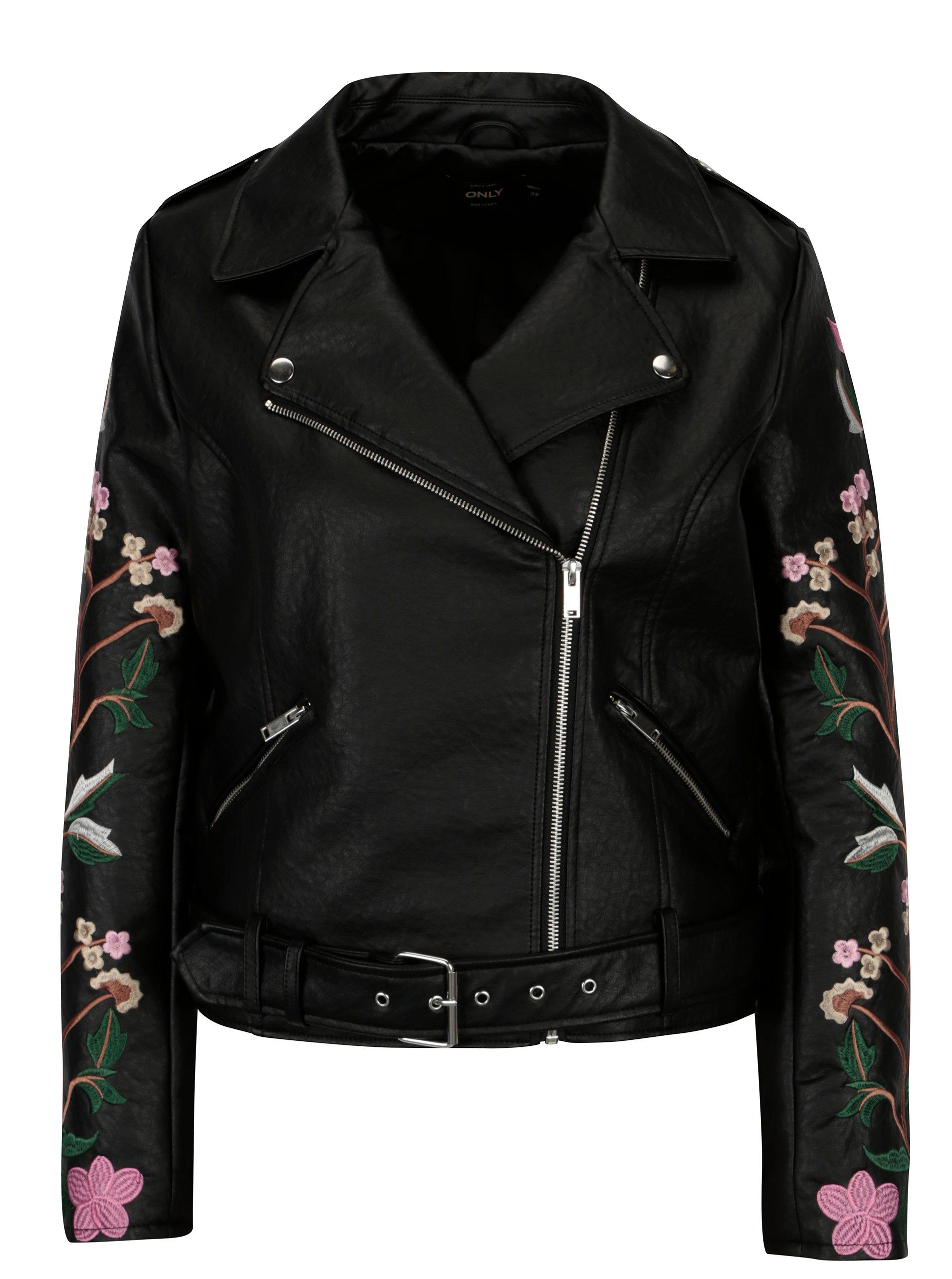 f85f8d3a7 Čierna kožená bunda s výšivkou na rukávoch ONLY Maltes