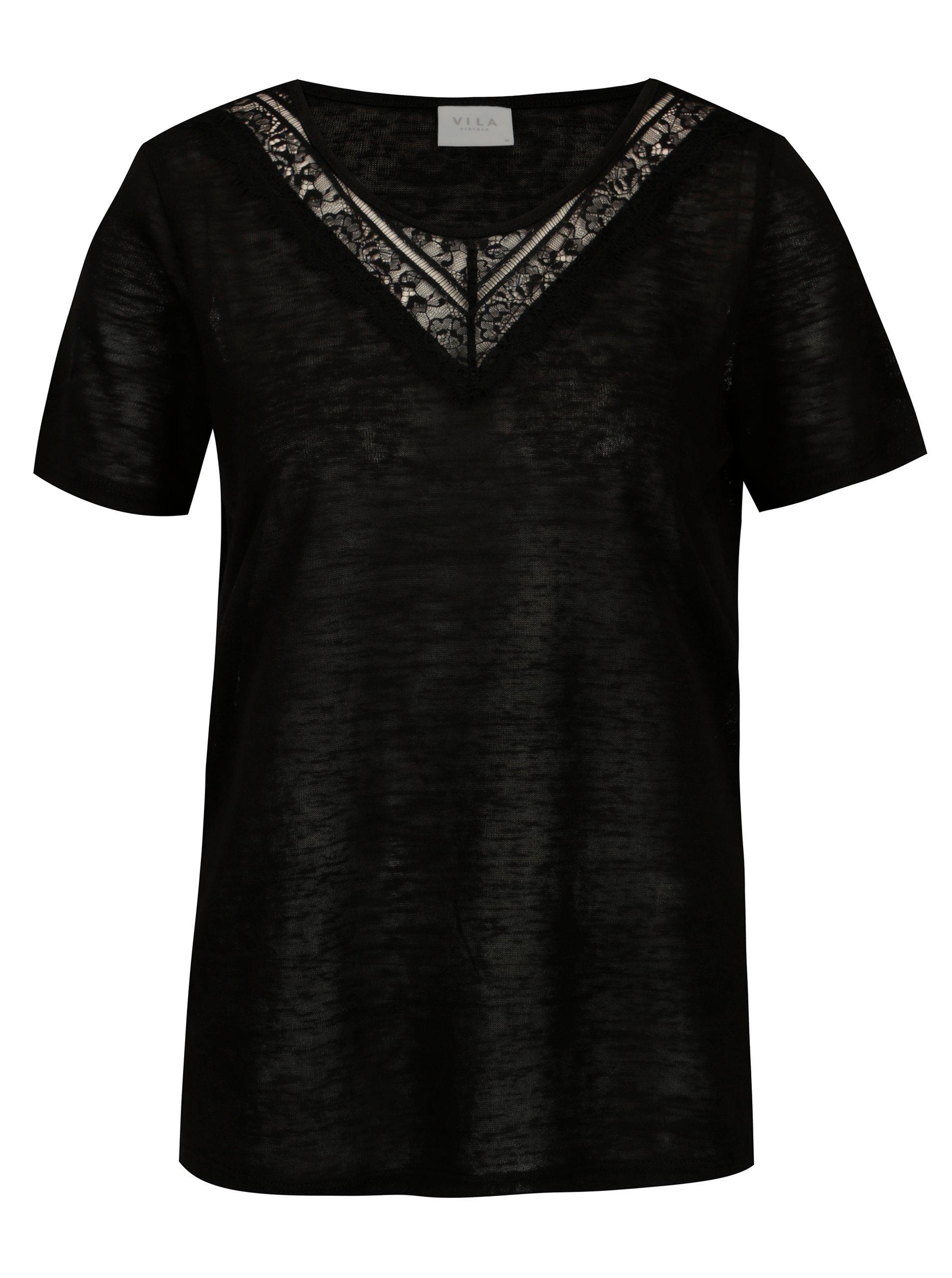 Černé průsvitné tričko VILA Sumi