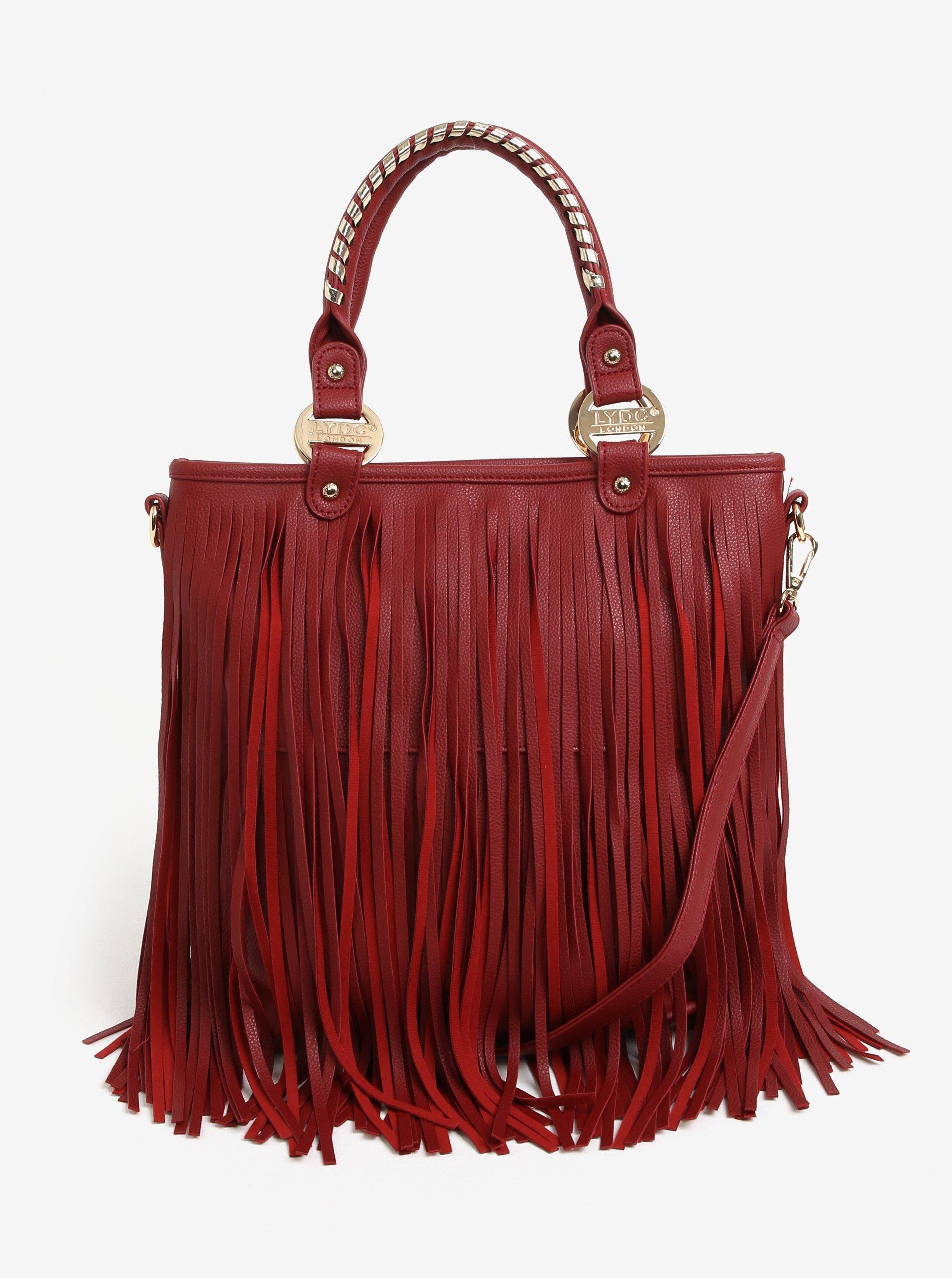 Červená kabelka s třásněmi LYDC