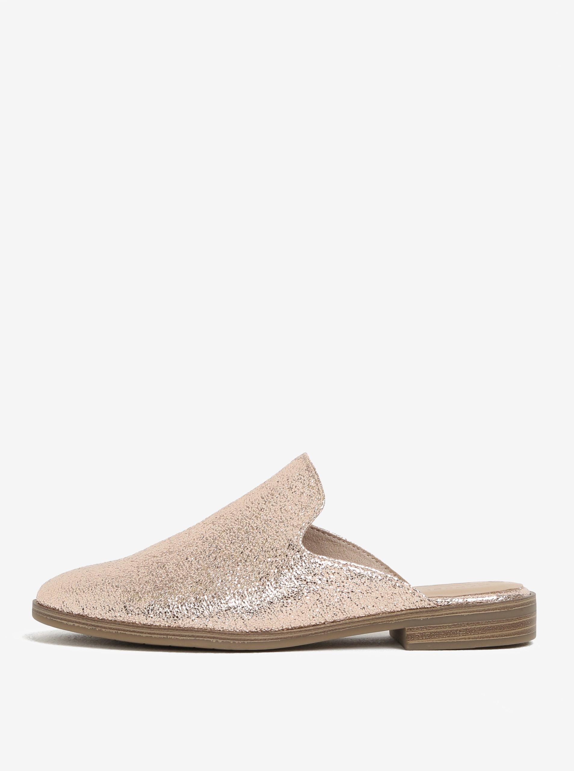 Lesklé pantofle v růžovozlaté barvě Tamaris