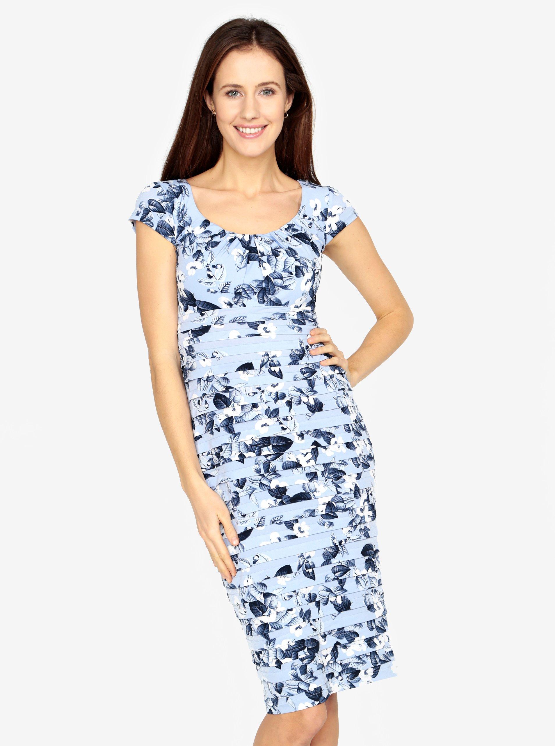 c5c724555ace Světle modré květované šaty s řasením M Co