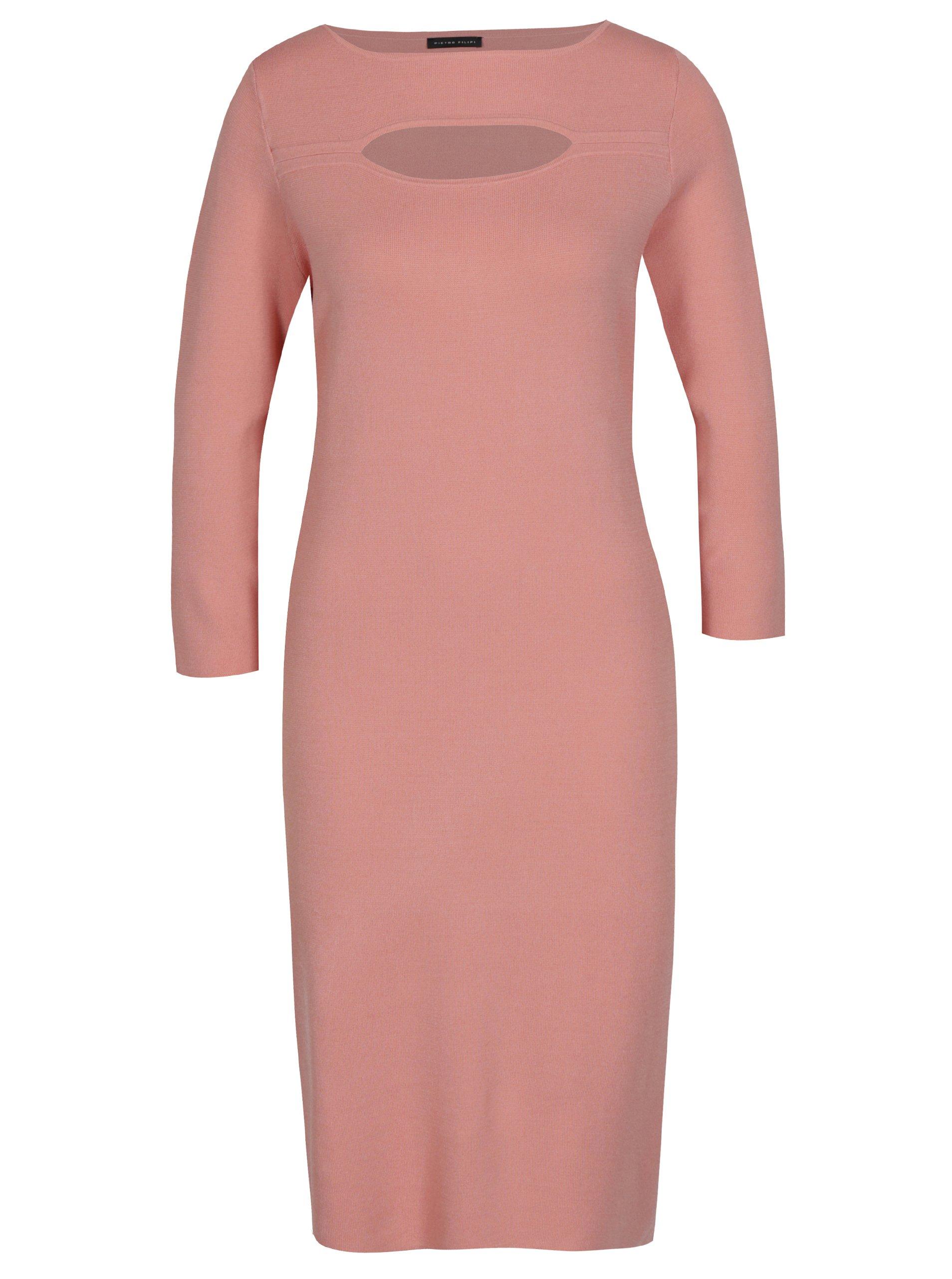 Fotografie Růžové dámské šaty s 3/4 rukávem Pietro Filipi