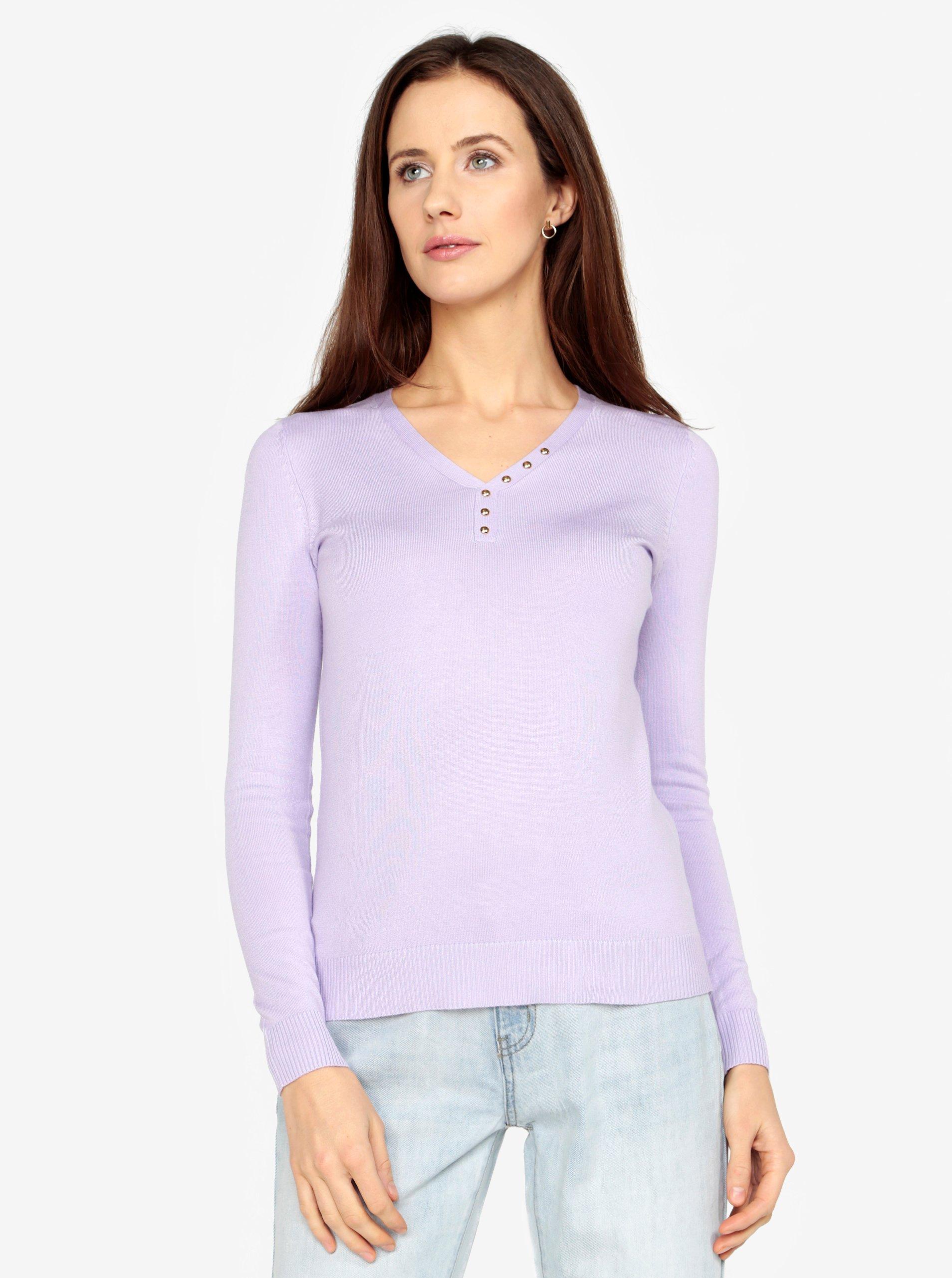 Svetlofialový sveter s véčkovým výstrihom M&Co