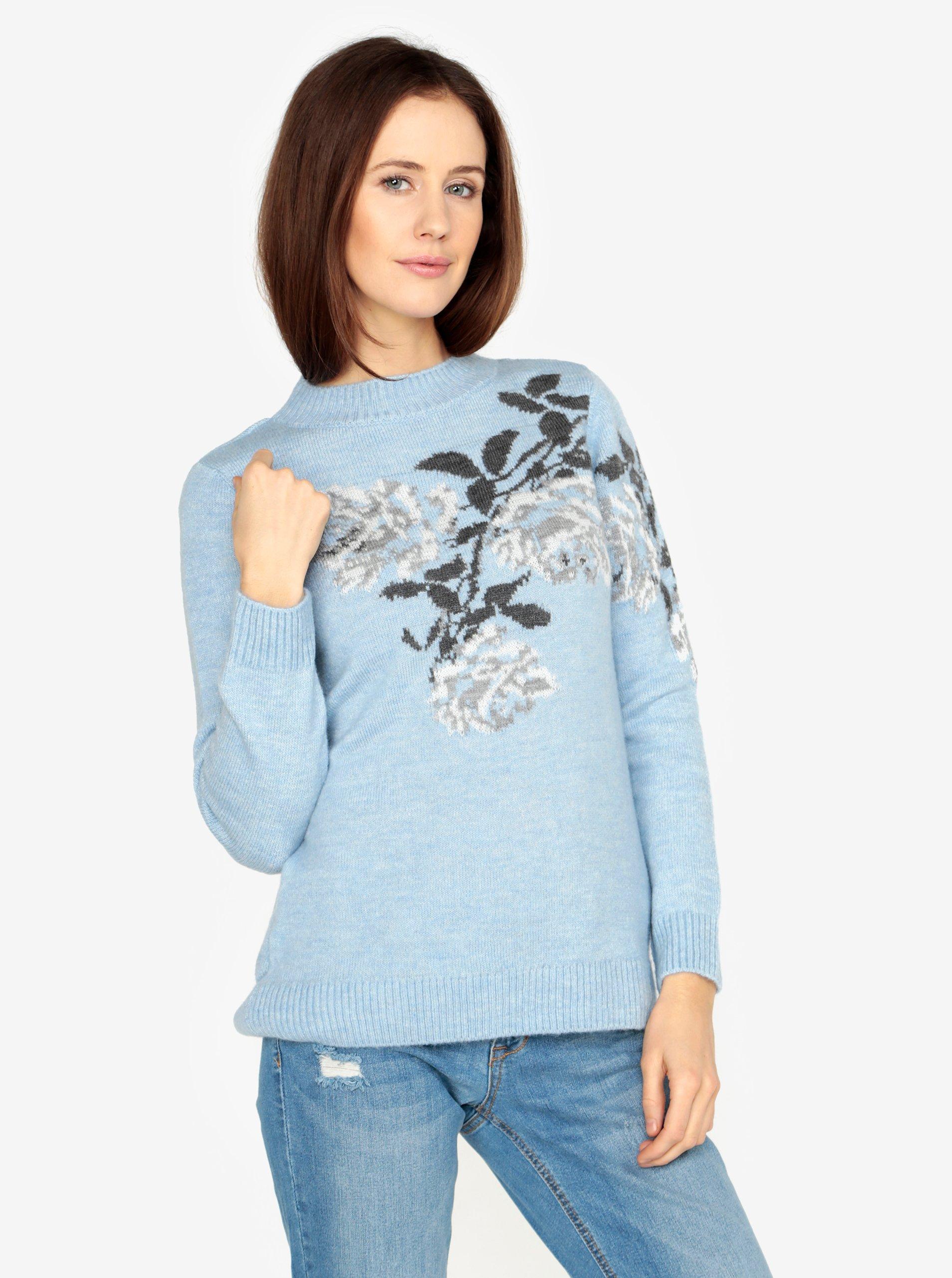 Svetlomodrý sveter s motívom kvetín M&Co
