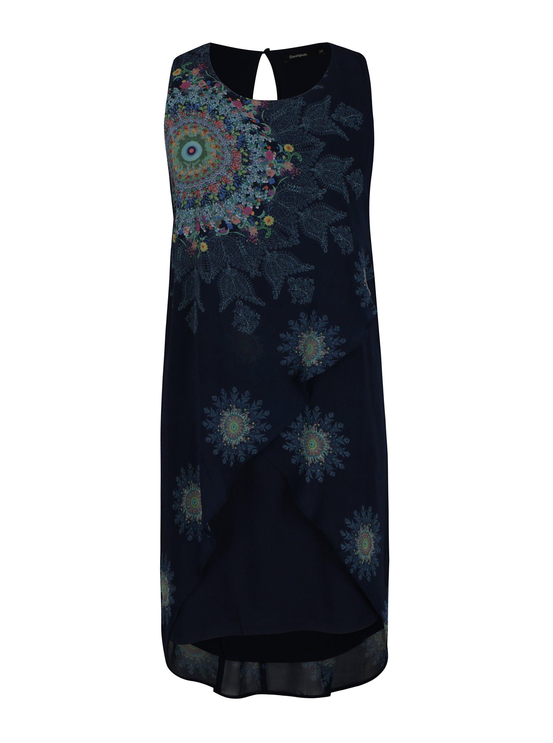 Modré vzorované šaty bez rukávů Desigual Nadia