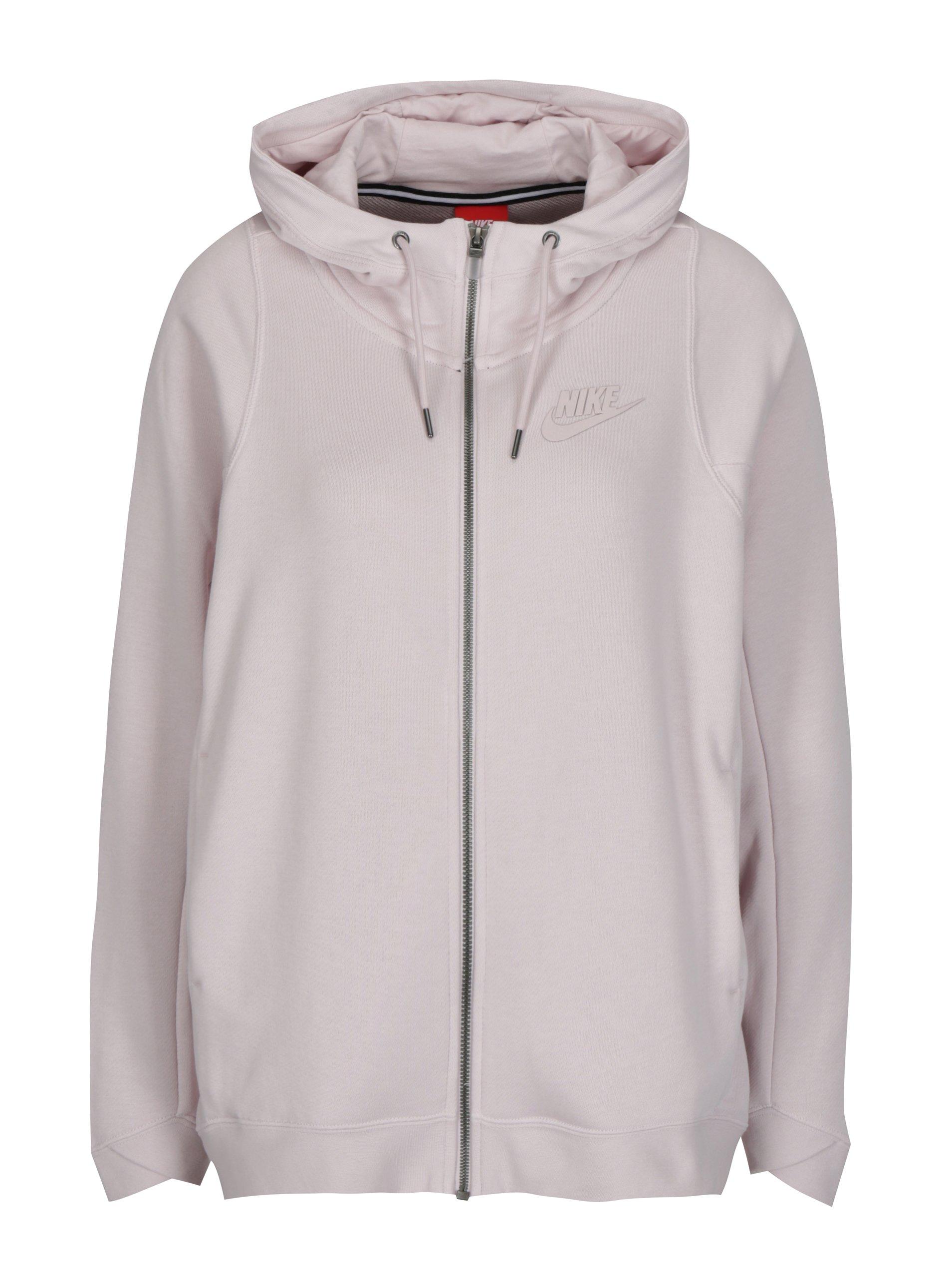 83fe1ec2e22 Světle růžová dámská oversize mikina na zip Nike