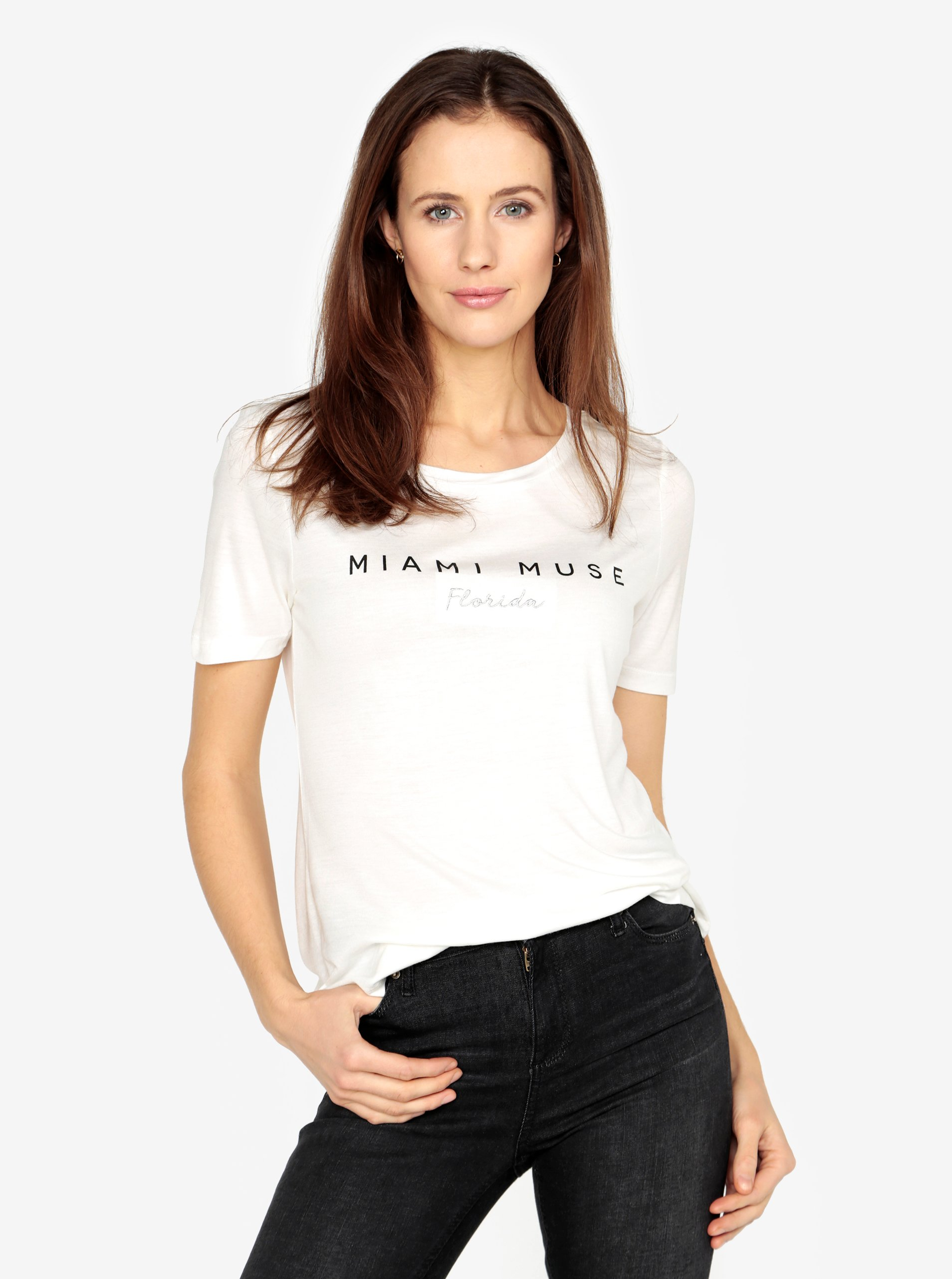 Fotografie Krémové tričko s potiskem a výšivkou VERO MODA Sola