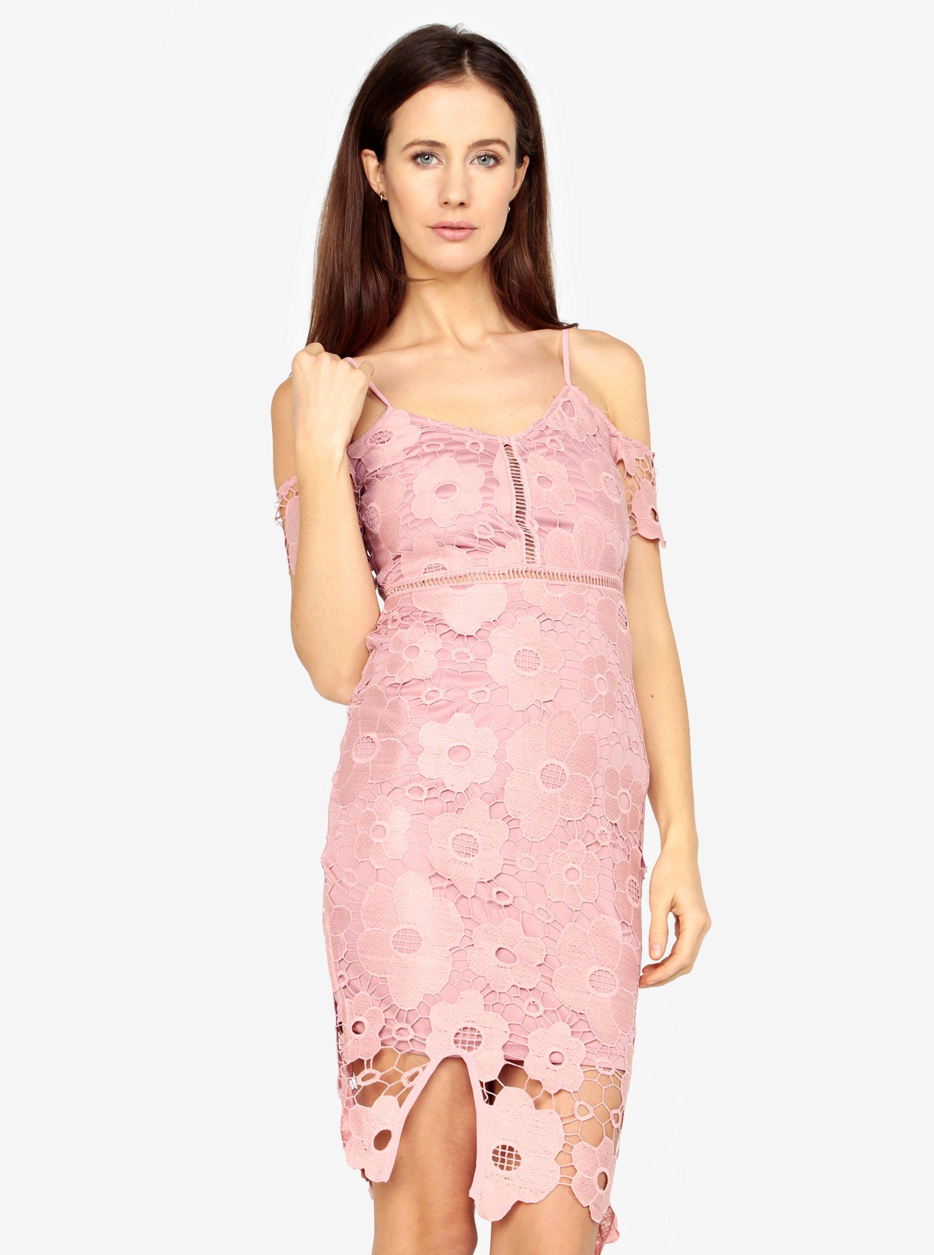 150d191a76ed Ružové čipkované puzdrové šaty MISSGUIDED