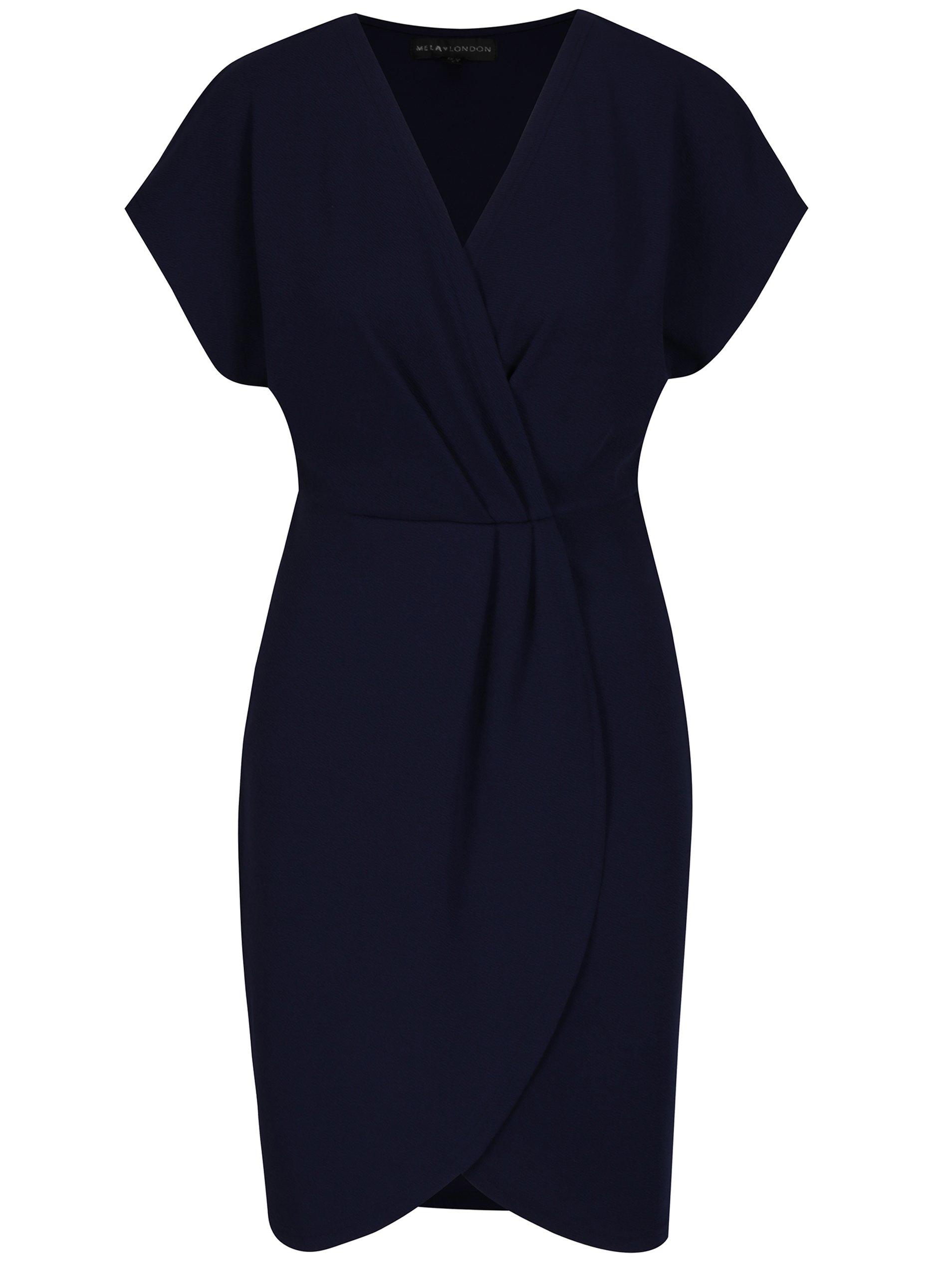 Tmavomodré rovné šaty s prekladaným topom a sukňou Mela London