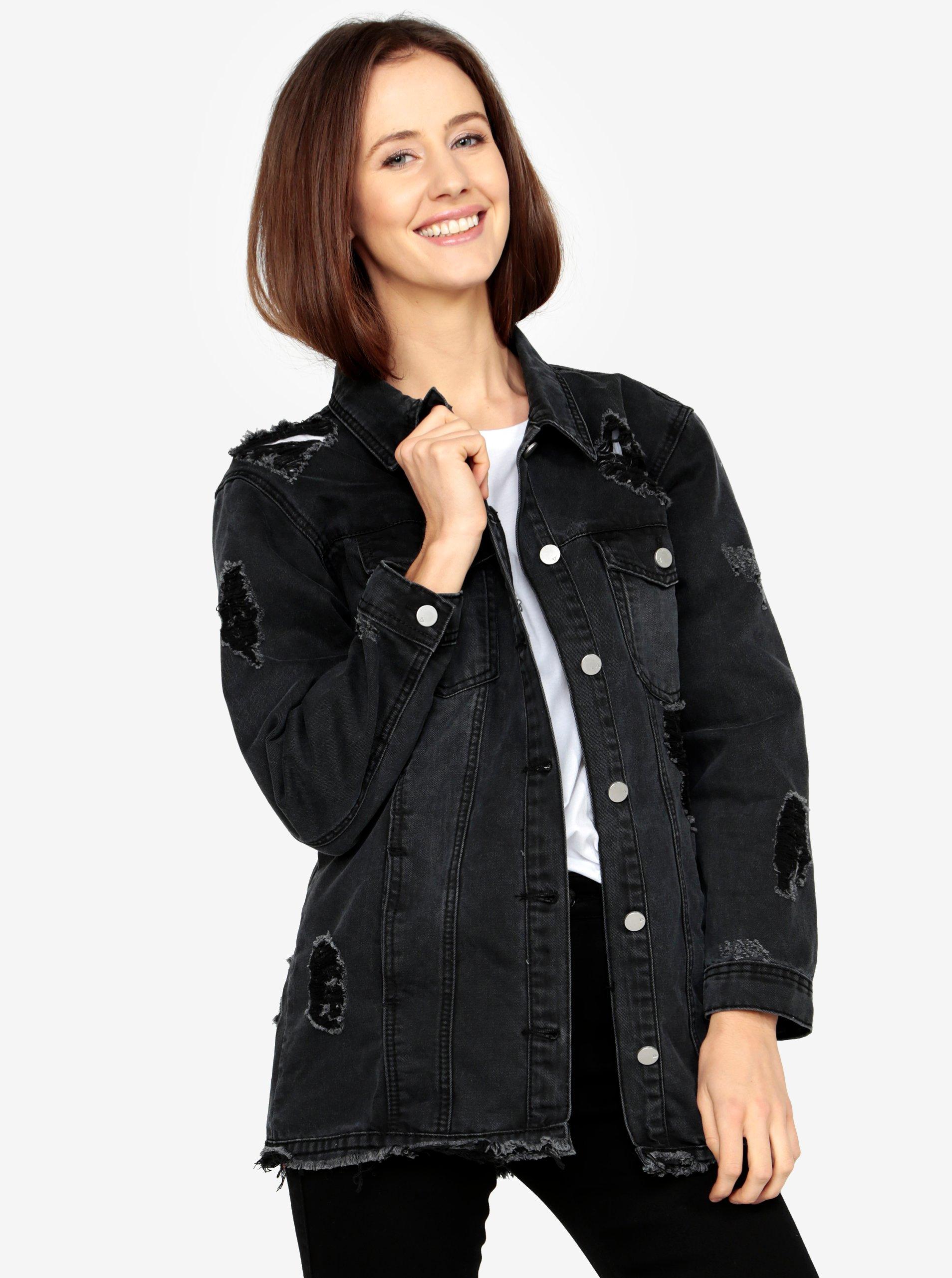 a1a2459f08 Čierna dlhá rifľová bunda s roztrhaným efektom MISSGUIDED