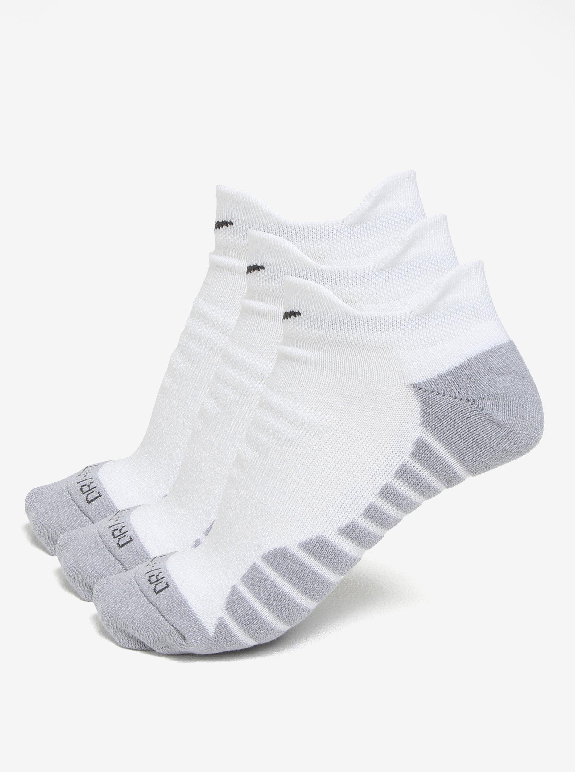 Sada tří párů dámských ponožek v šedo-bílé barvě Nike Dry Cushion Low