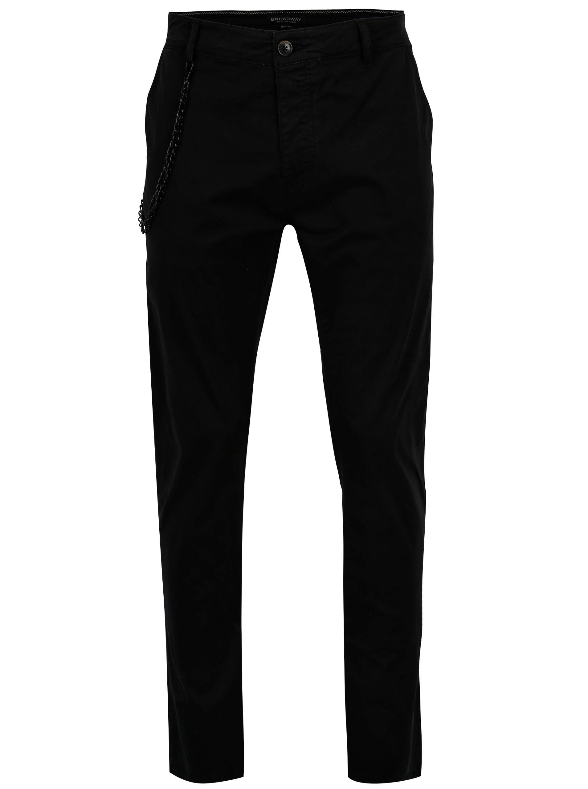 Fotografie Černé pánské kalhoty s řetězem Broadway