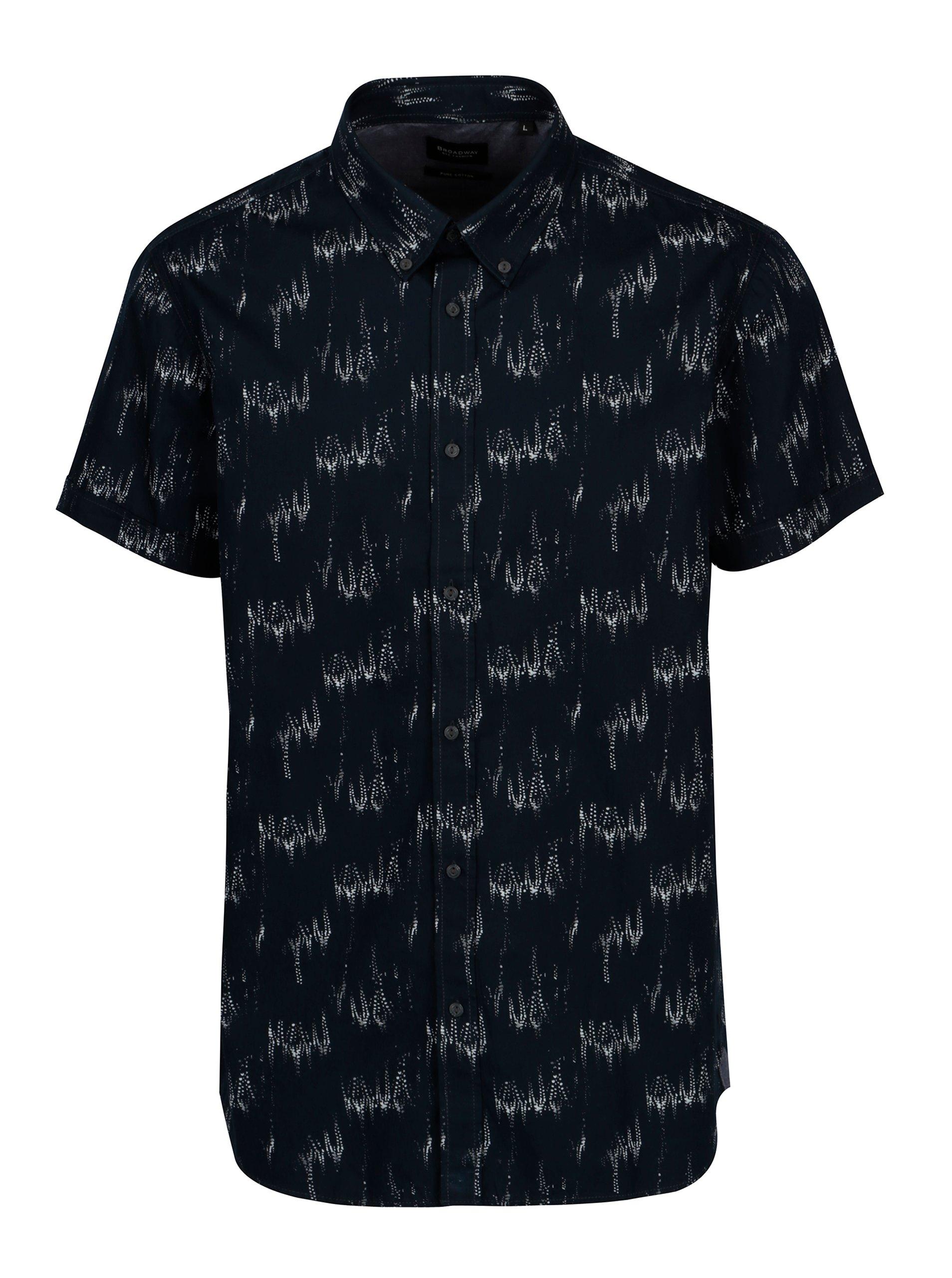 Tmavě modrá pánská vzorovaná košile Broadway Iniesta