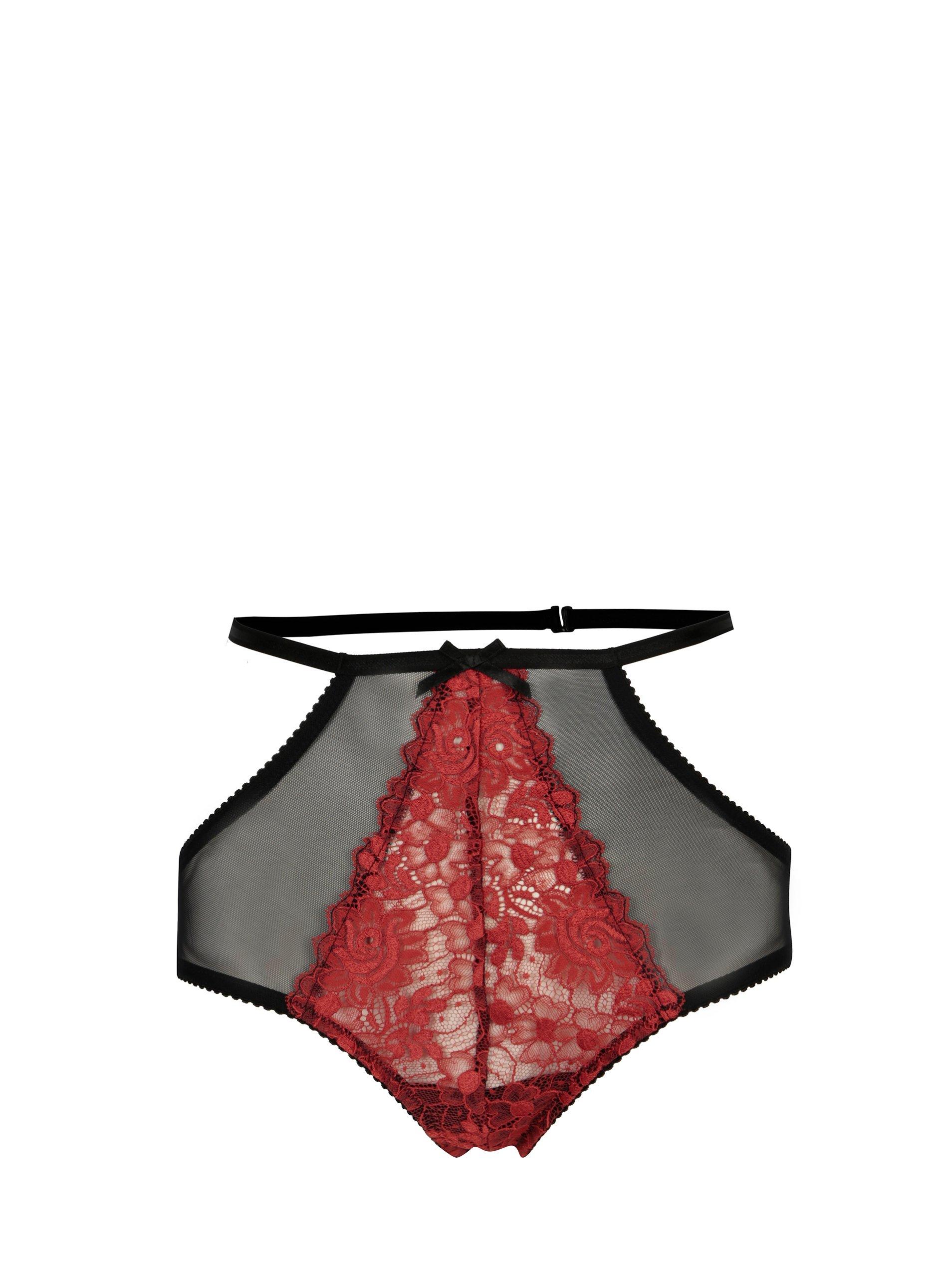 Černo-červené krajkové kalhotky s vysokým pasem Eden Lingerie