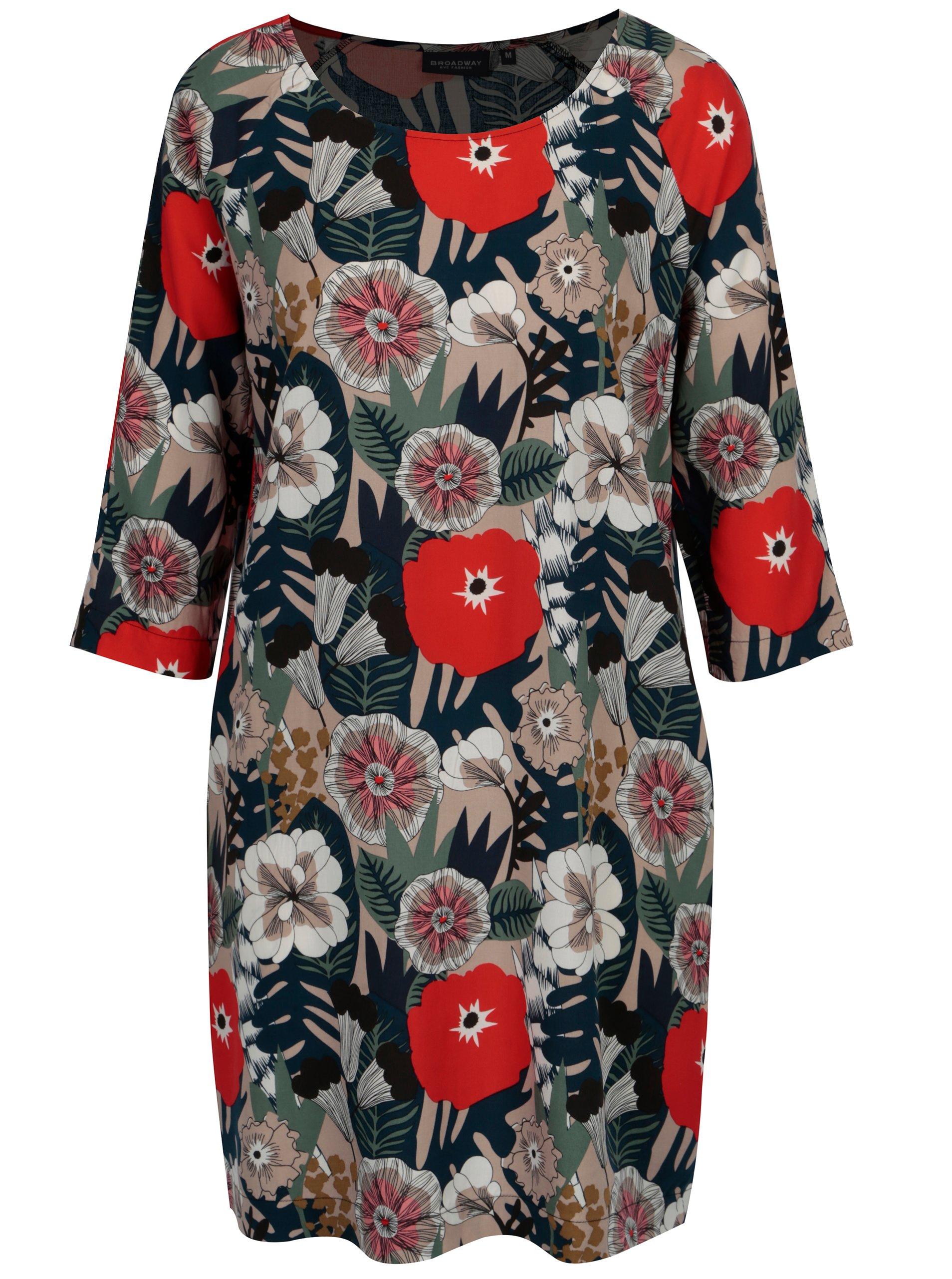 Tmavě modré květované šaty s 3/4 rukávem Broadway Oona