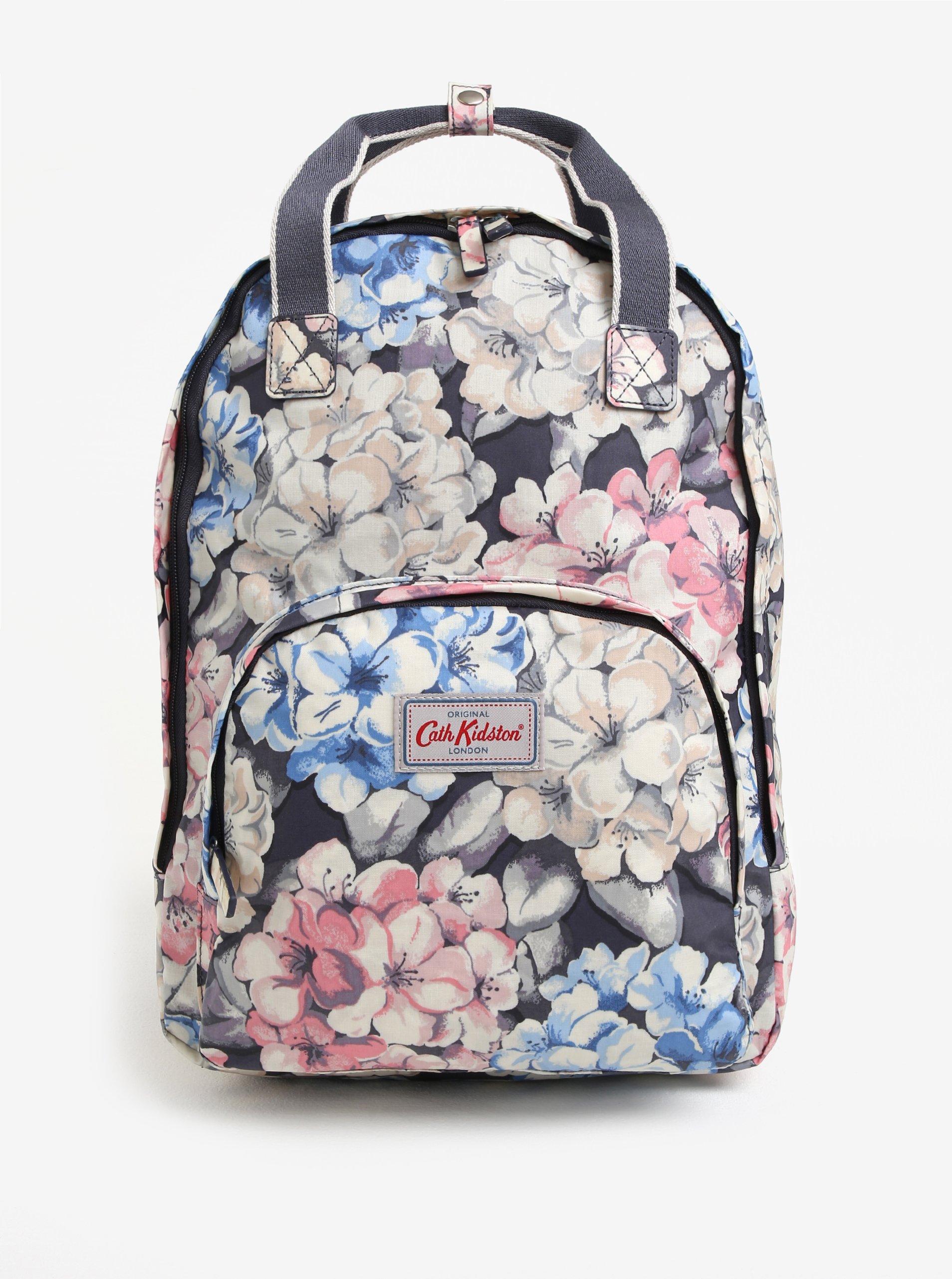 Krémovo-modrý dámský květovaný batoh Cath Kidston