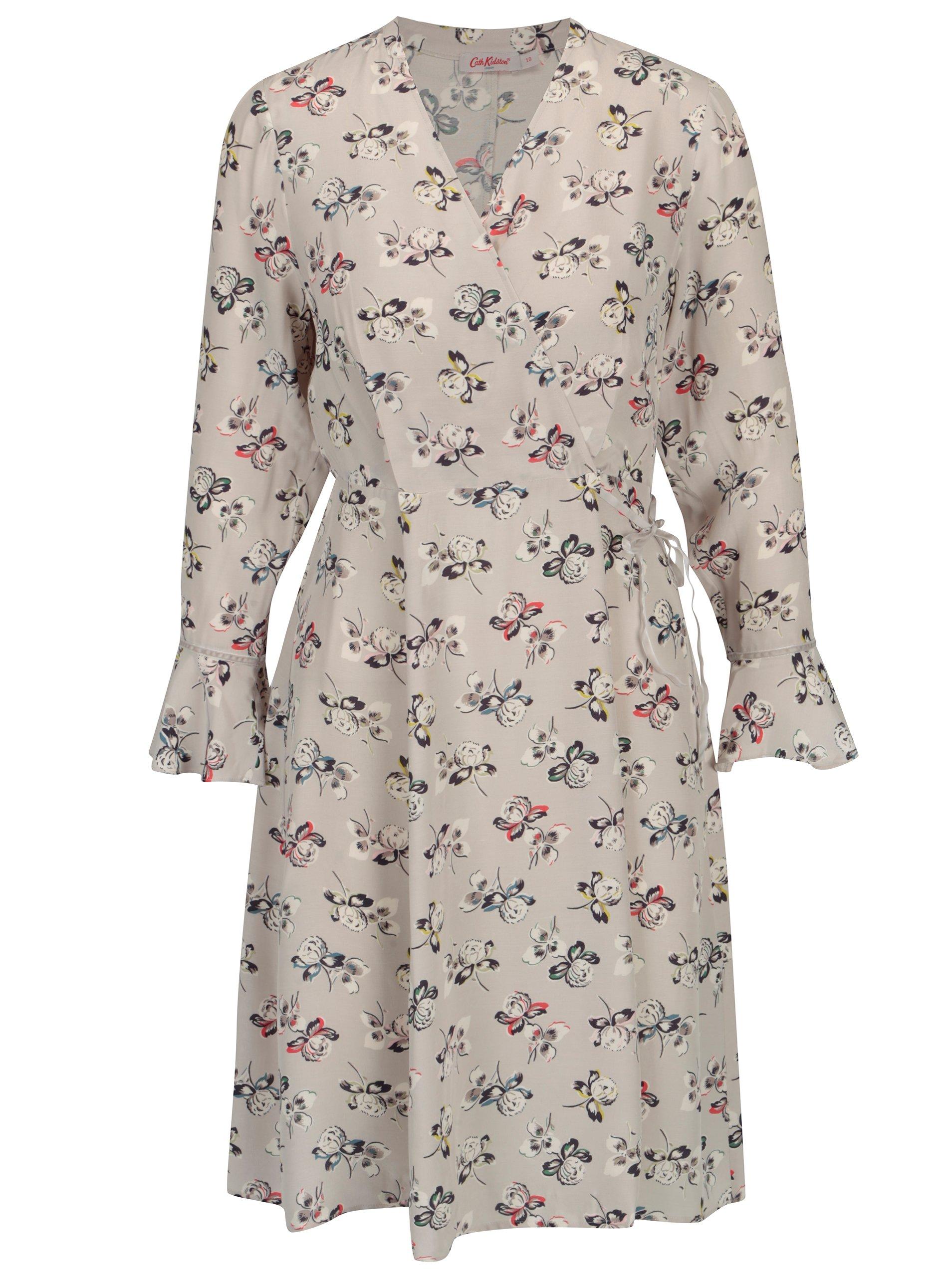 Šedé dámské květované šaty s překládaným výstřihem Cath Kidston