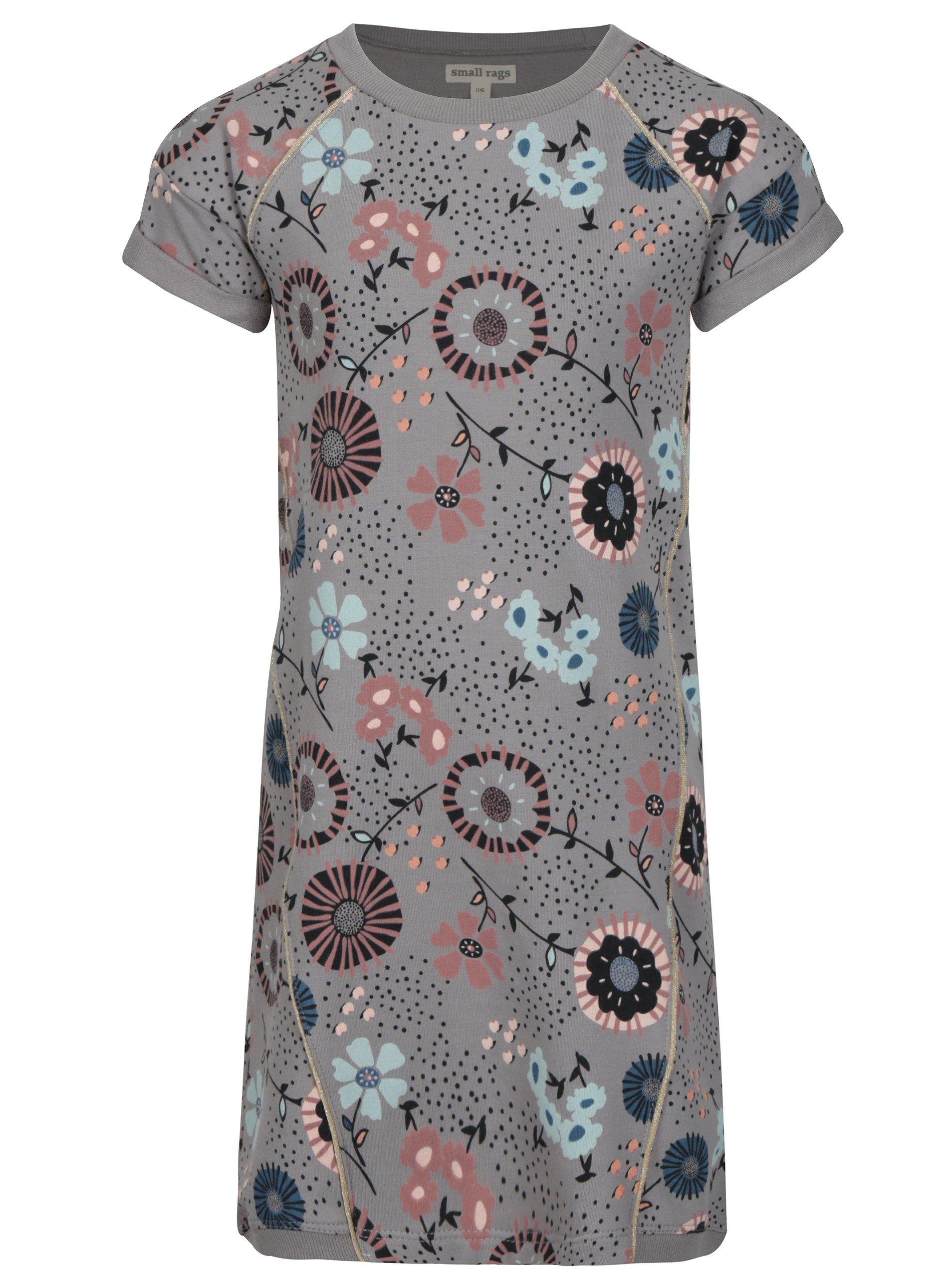Šedé vzorované holčičí mikinové šaty small rags Gerda