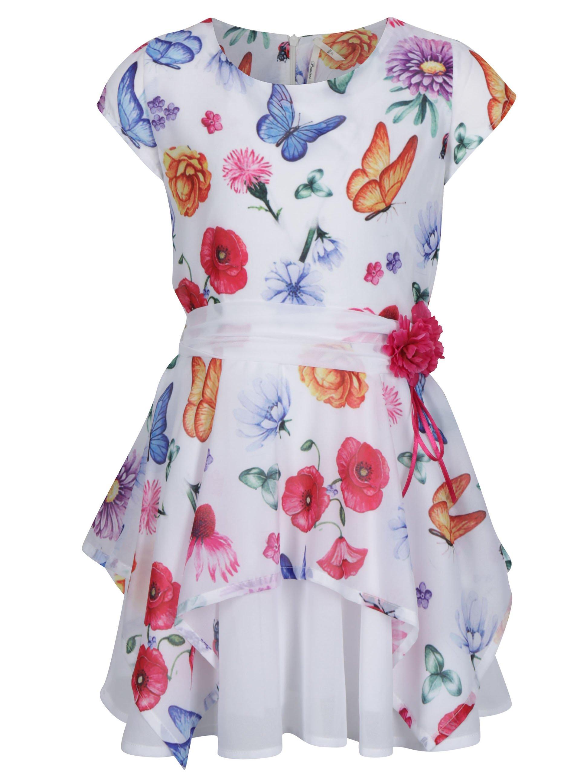 34aebc0a629b Biele kvetované dievčenské šaty s opaskom Norh Pole Kids