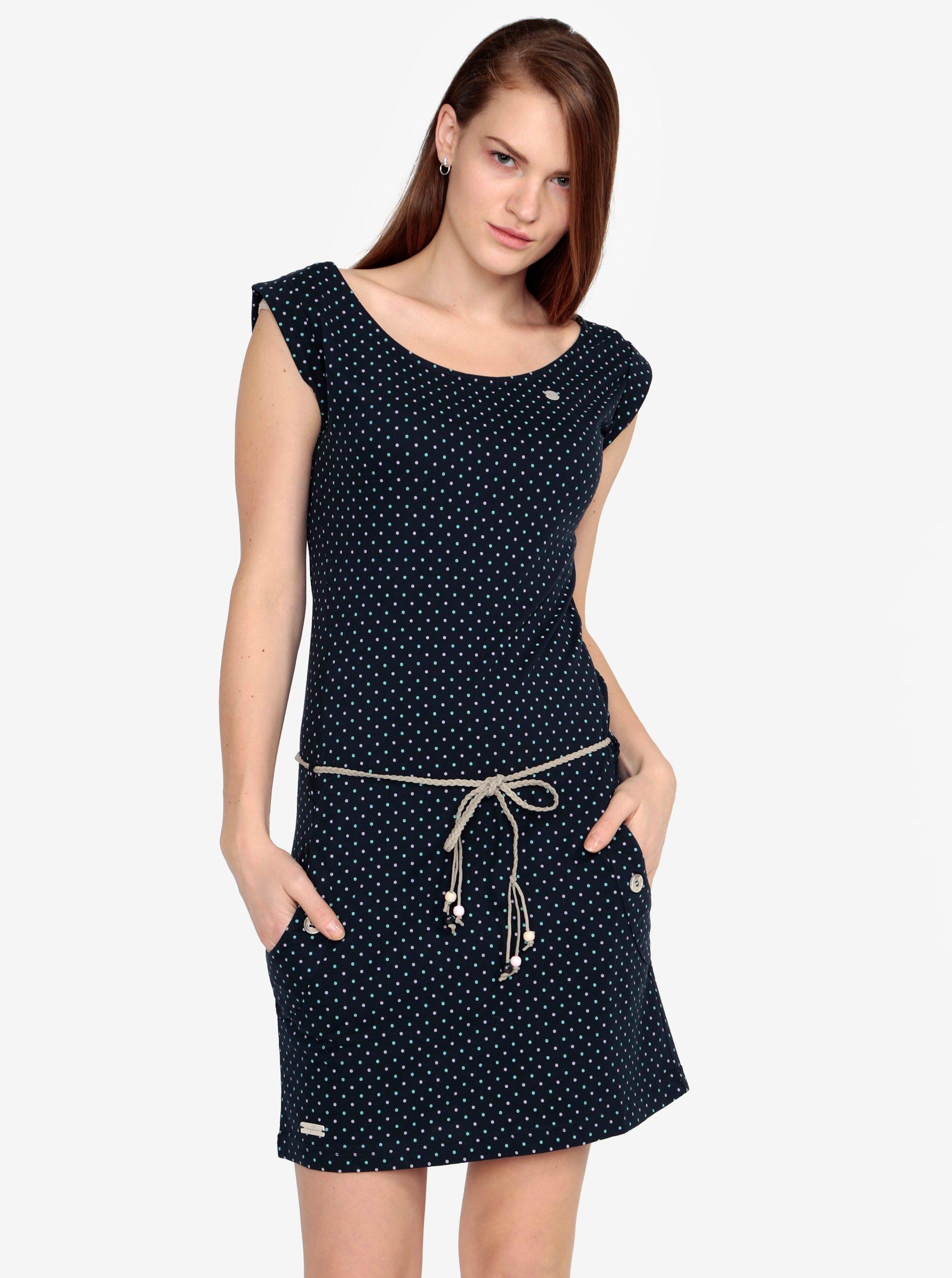 Tmavě modré puntíkované šaty s páskem Ragwear Tag Dots
