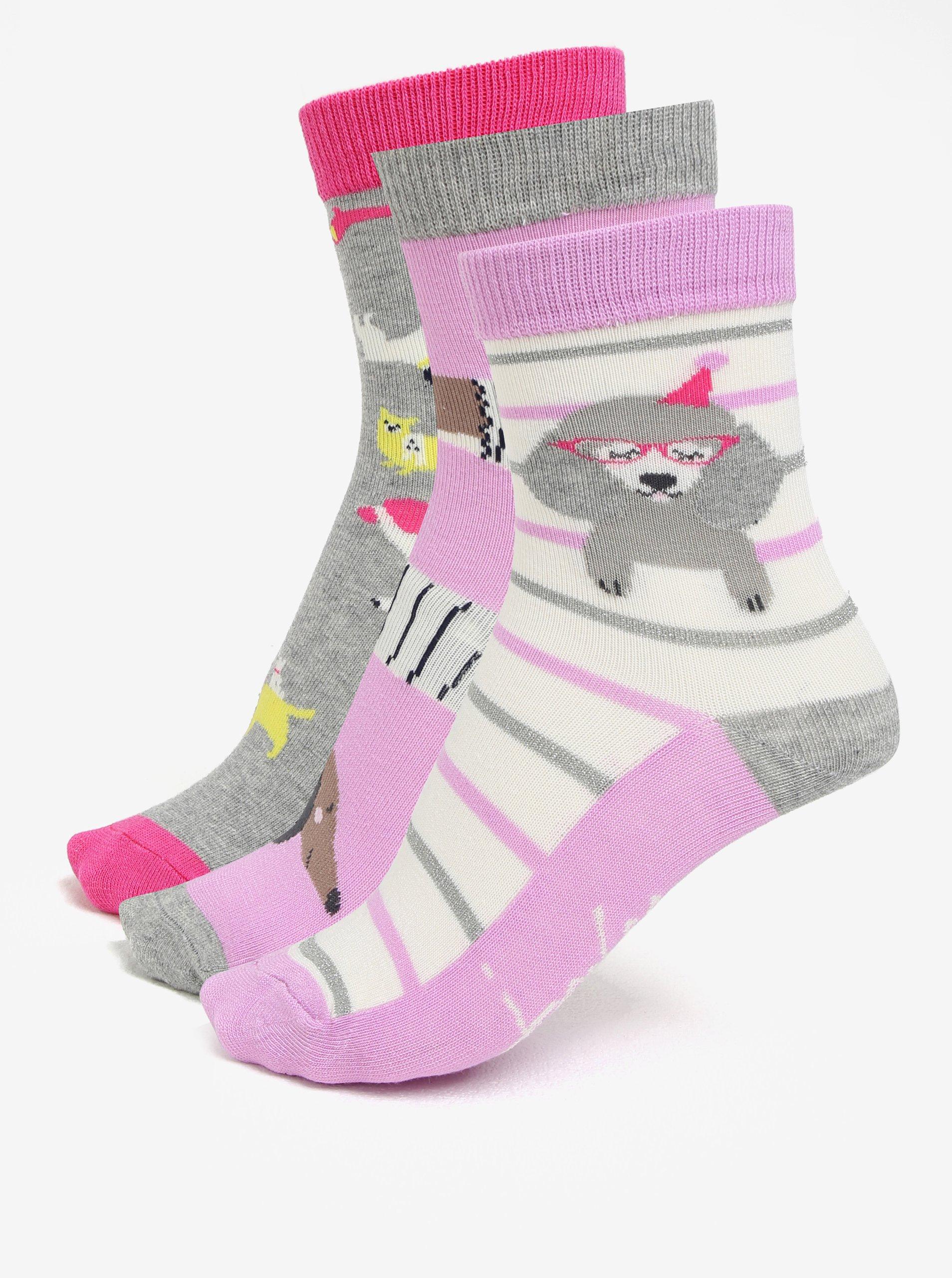 Súprava troch dievčenských ponožiek s motívom psov Tom Joule Brilliant