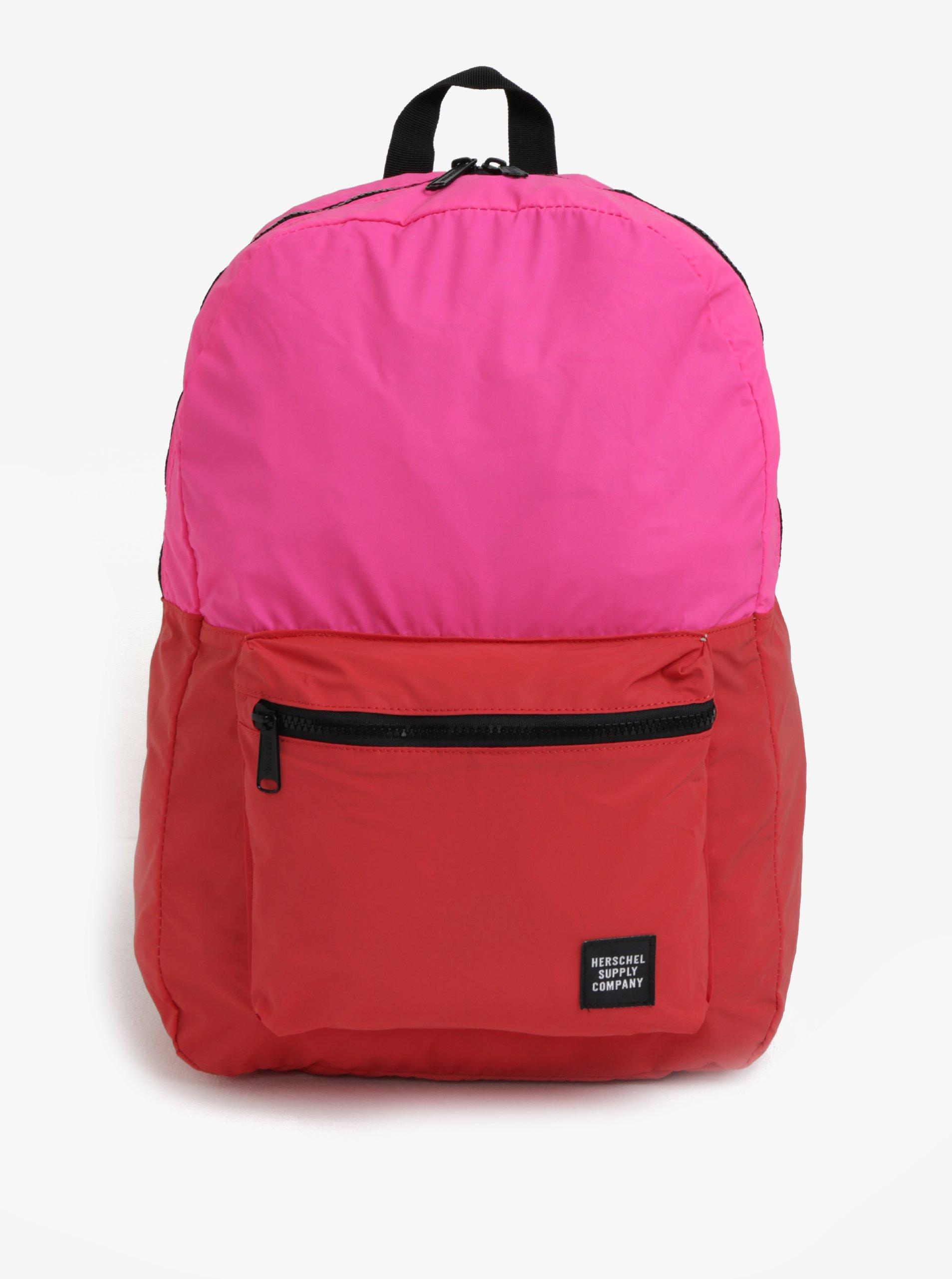 Fotografie Růžovo-červený reflexní batoh Herschel Packable Daypack 24,5 l