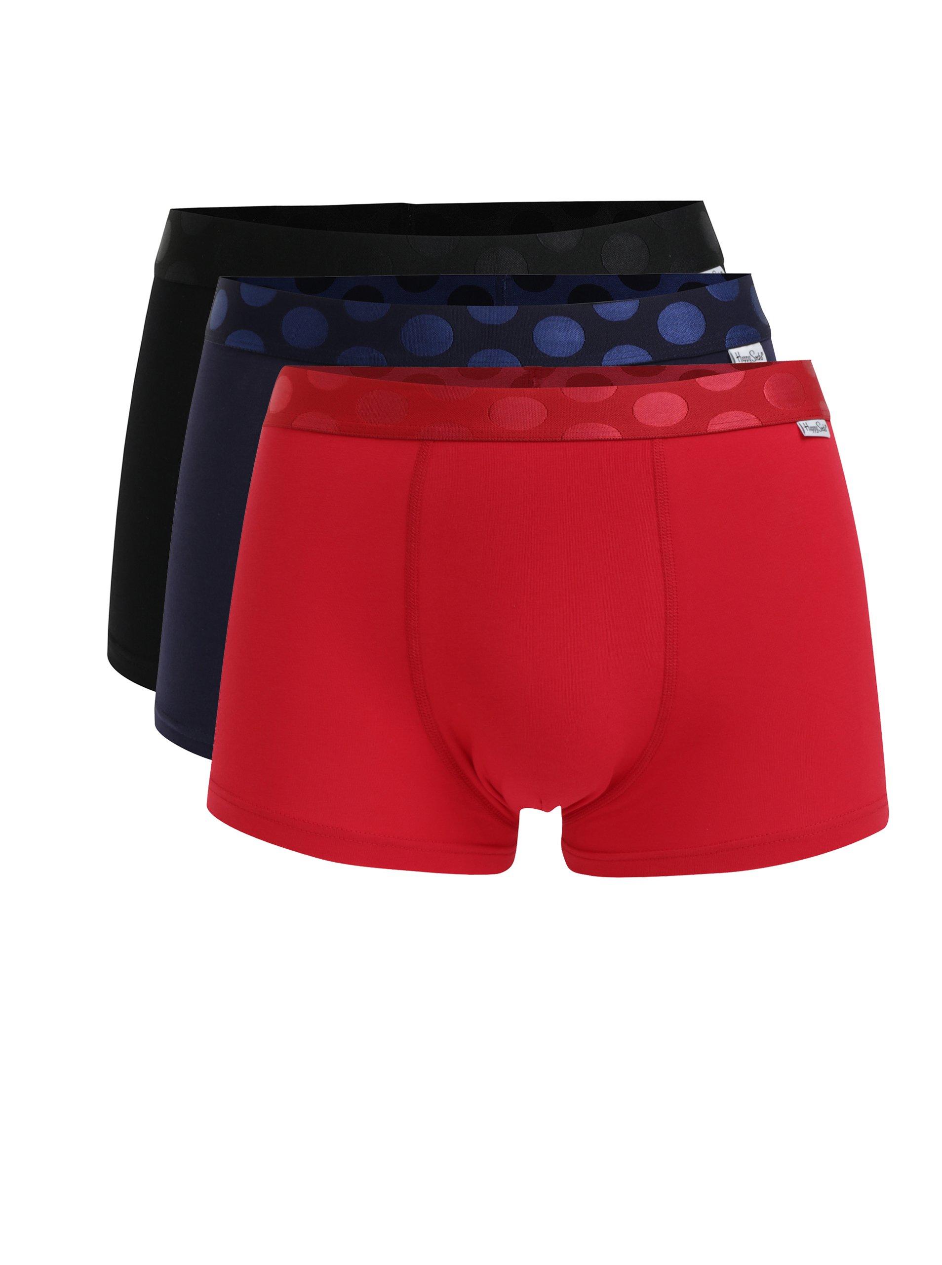 Fotografie Sada tří pánských boxerek v modré, červené a černé barvě Happy Socks Solid