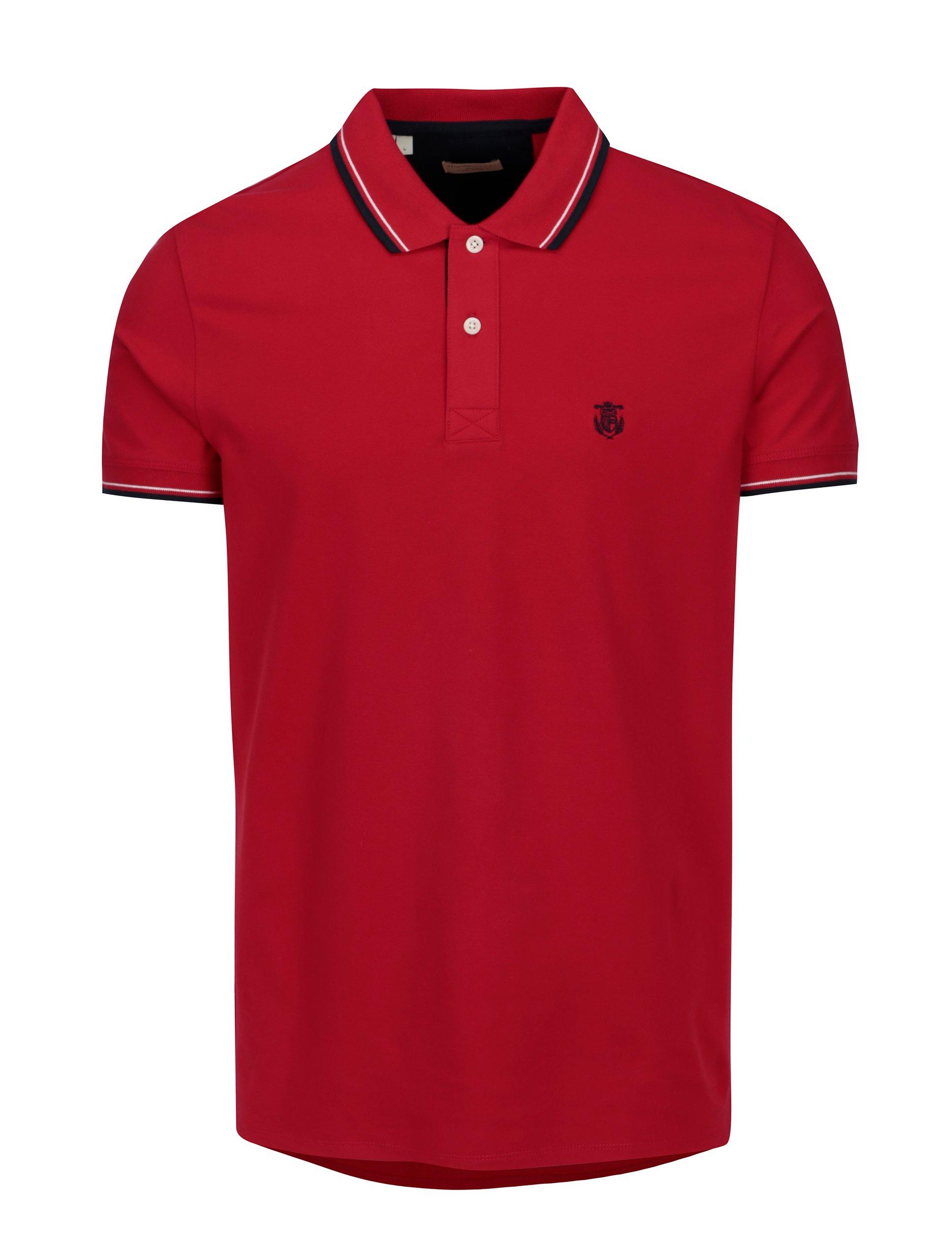 Červené polo tričko s výšivkou Selected Homme Newseason