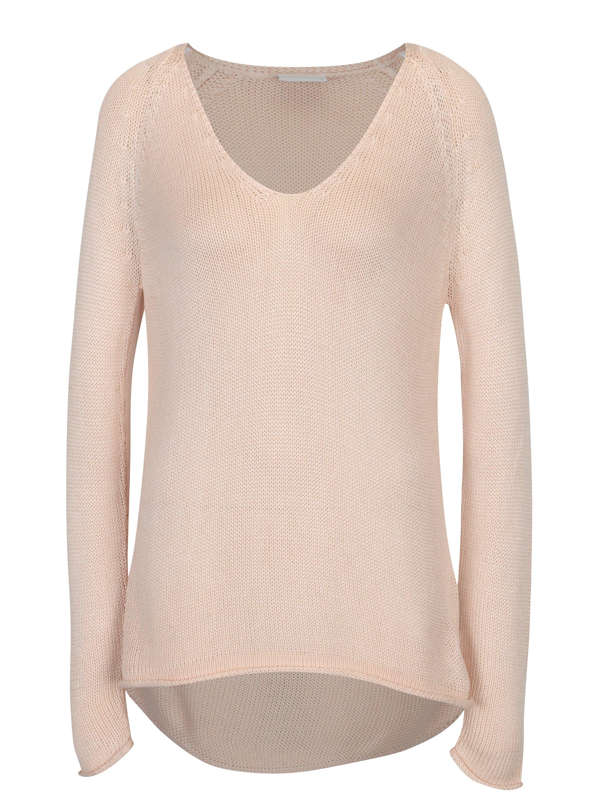 Světle růžový svetr s véčkovým výstřihem VILA Tobina