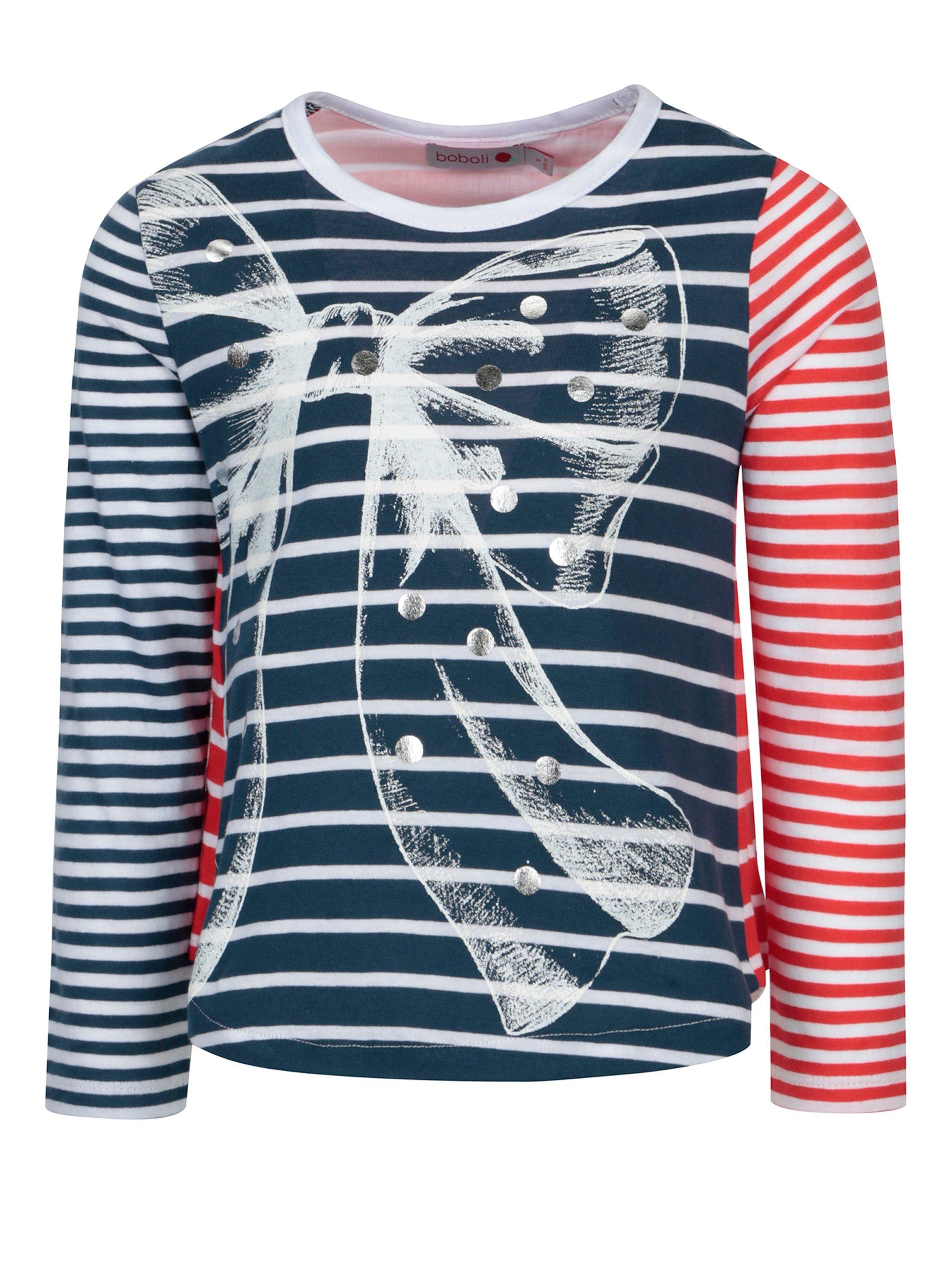 Červeno–modré dievčenské pruhované tričko Bóboli