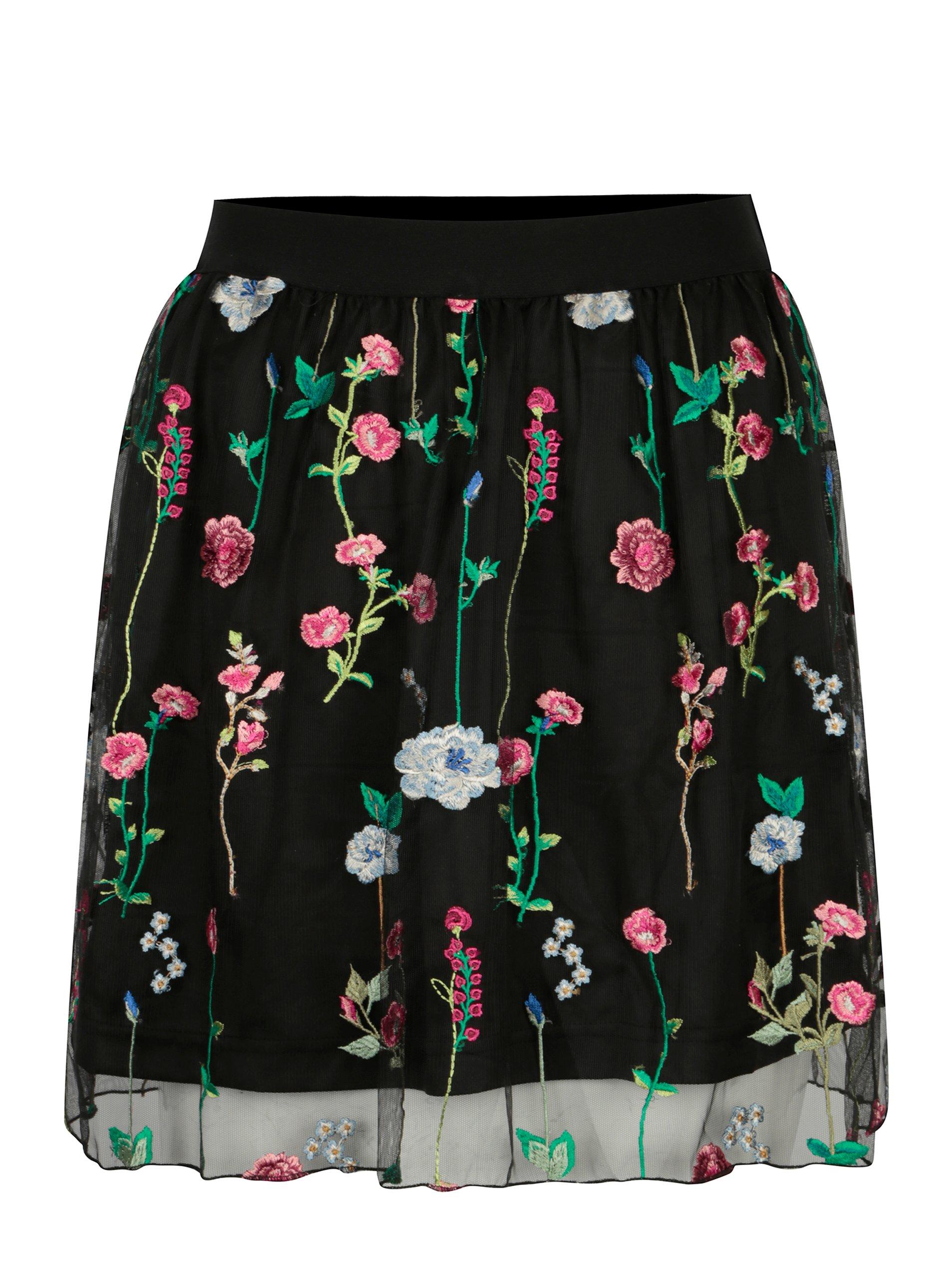 Čierna tylová sukňa s výšivkou ONLY Viva