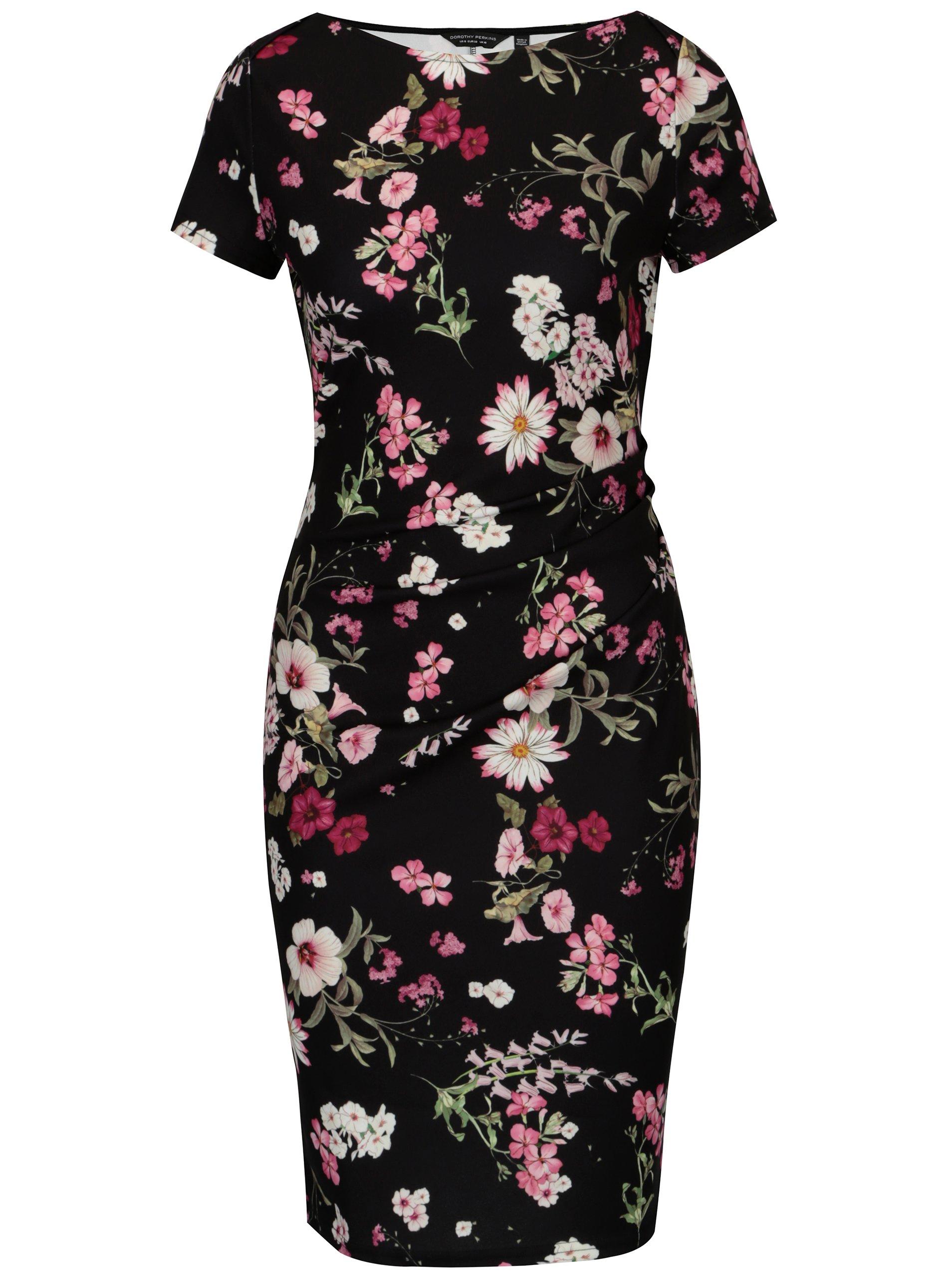 8bc9914607e9 Ružovo–čierne kvetované šaty s krátkym rukávom Dorothy Perkins