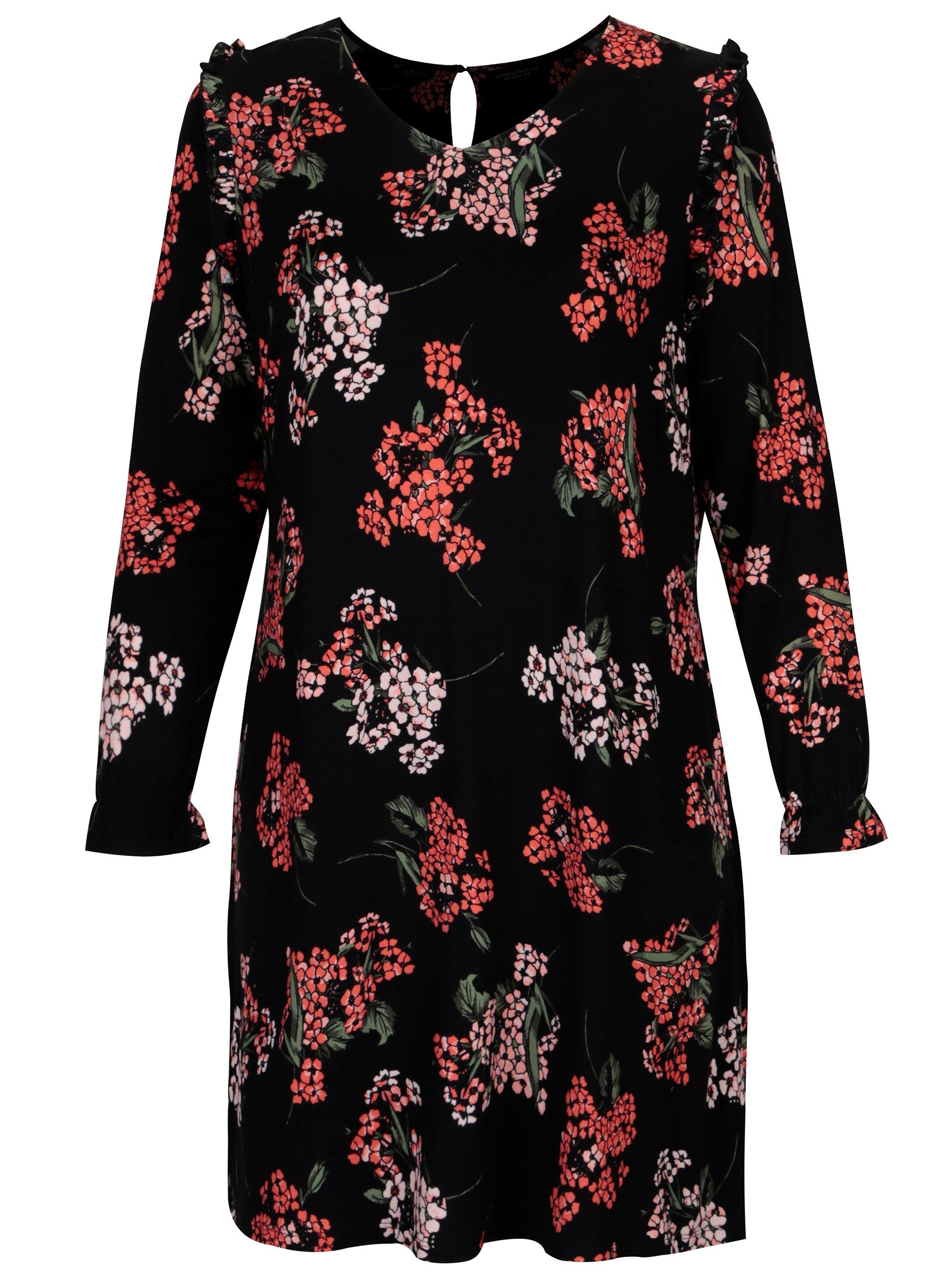 Černé květované šaty s volány na ramenou Dorothy Perkins Curve