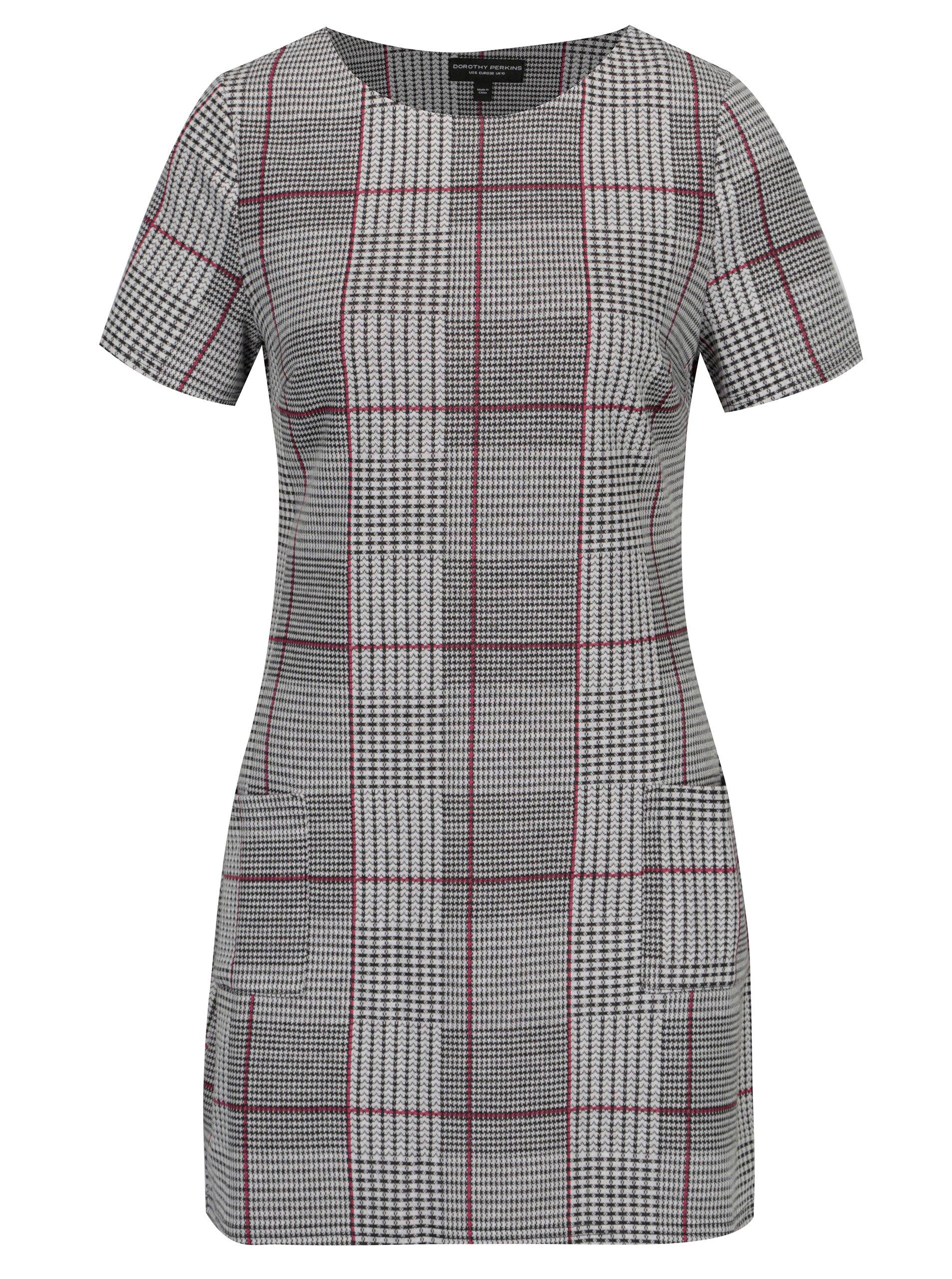 4d016c709ced Čierno–biele kockované šaty s vreckami Dorothy Perkins