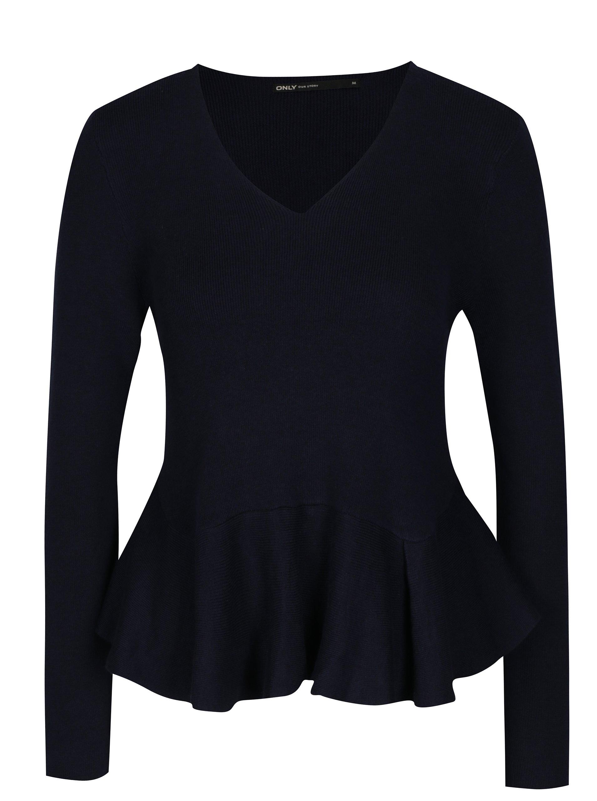 Fotografie Tmavě modrý krátký svetr s volánem ONLY Rosana