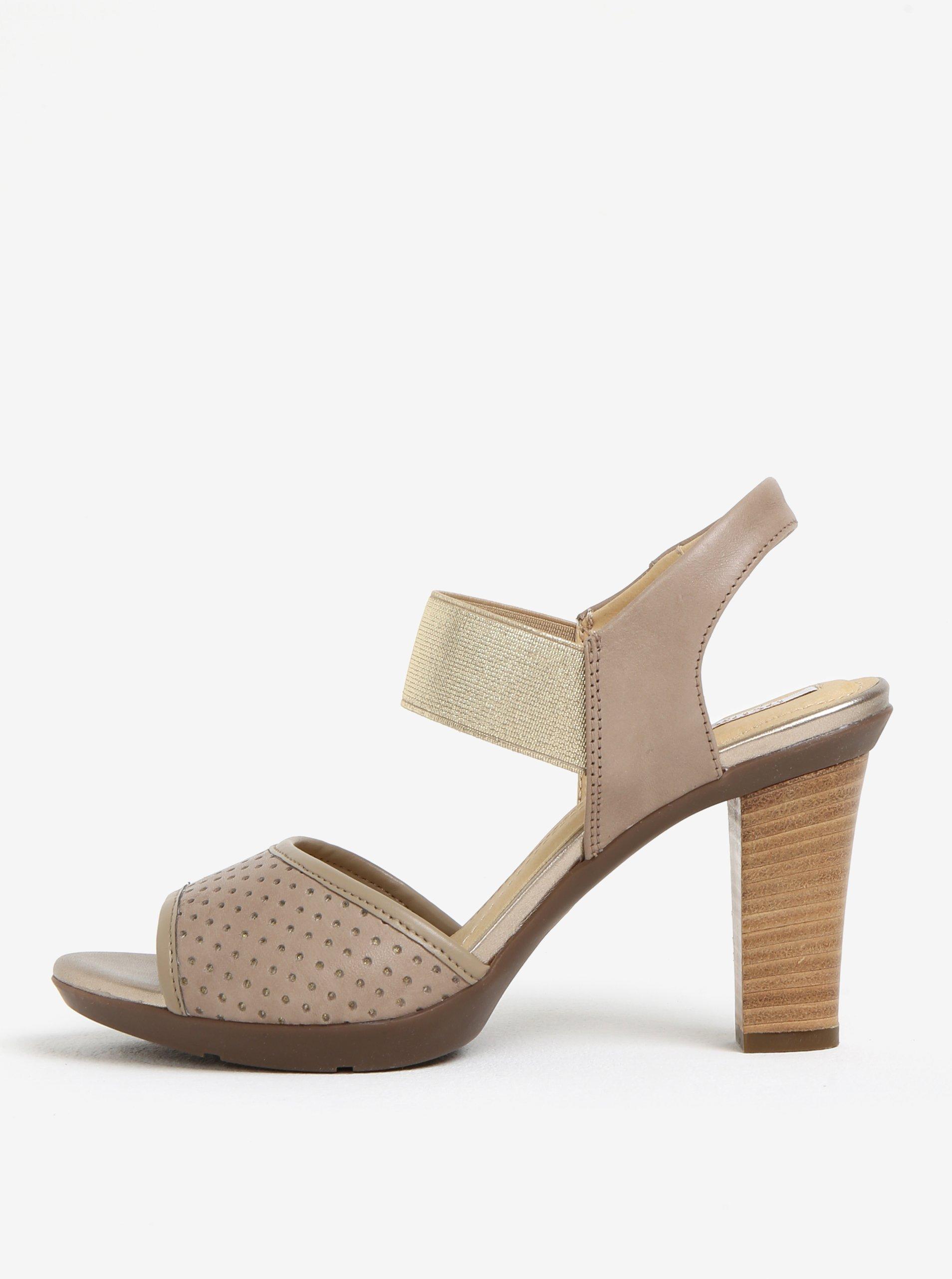 67ba40036819 Béžové dámské kožené sandálky na podpatku Geox Jadalis