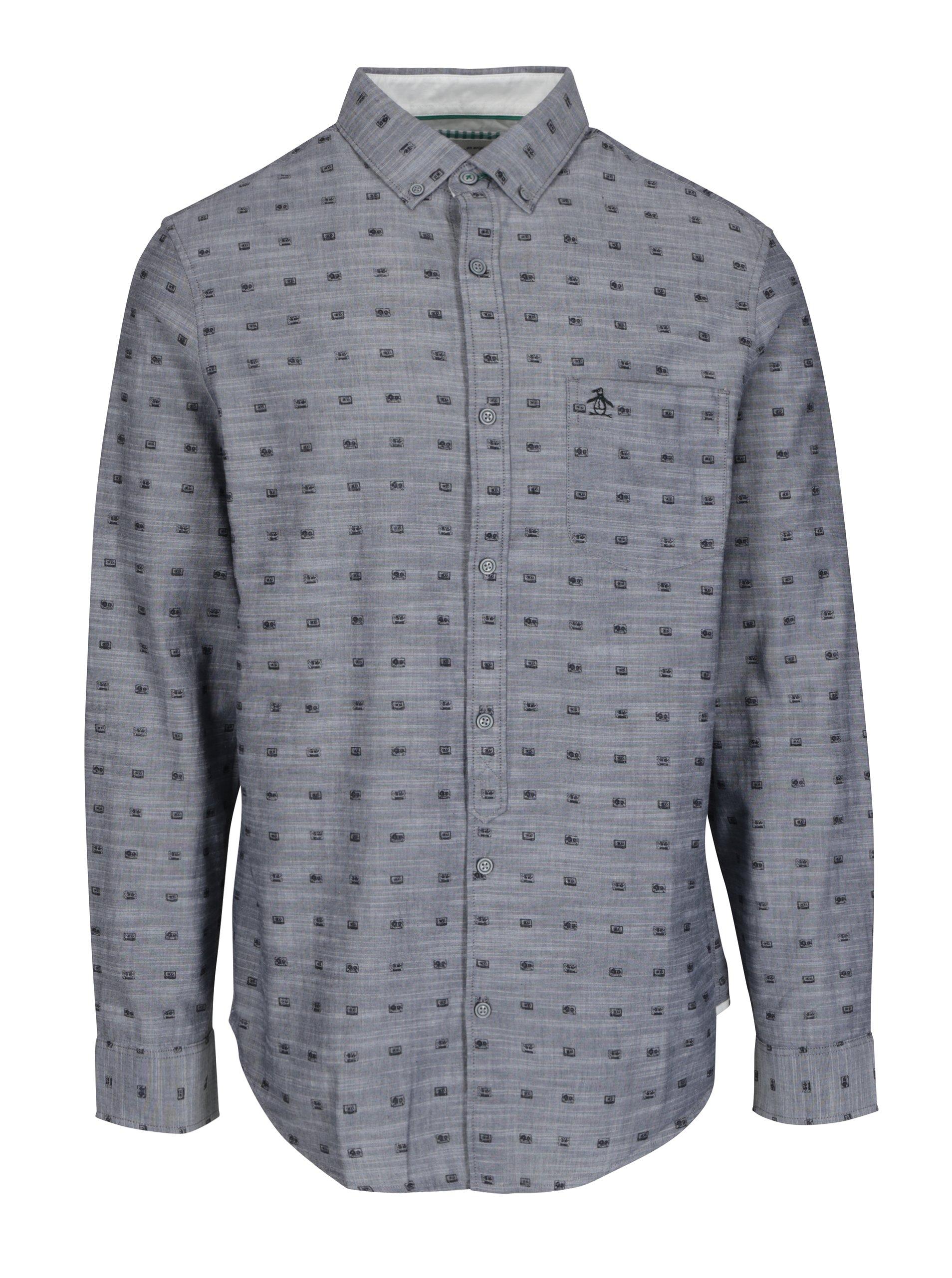 Šedá vzorovaná košile s náprsní kapsou Original Penguin Cassette