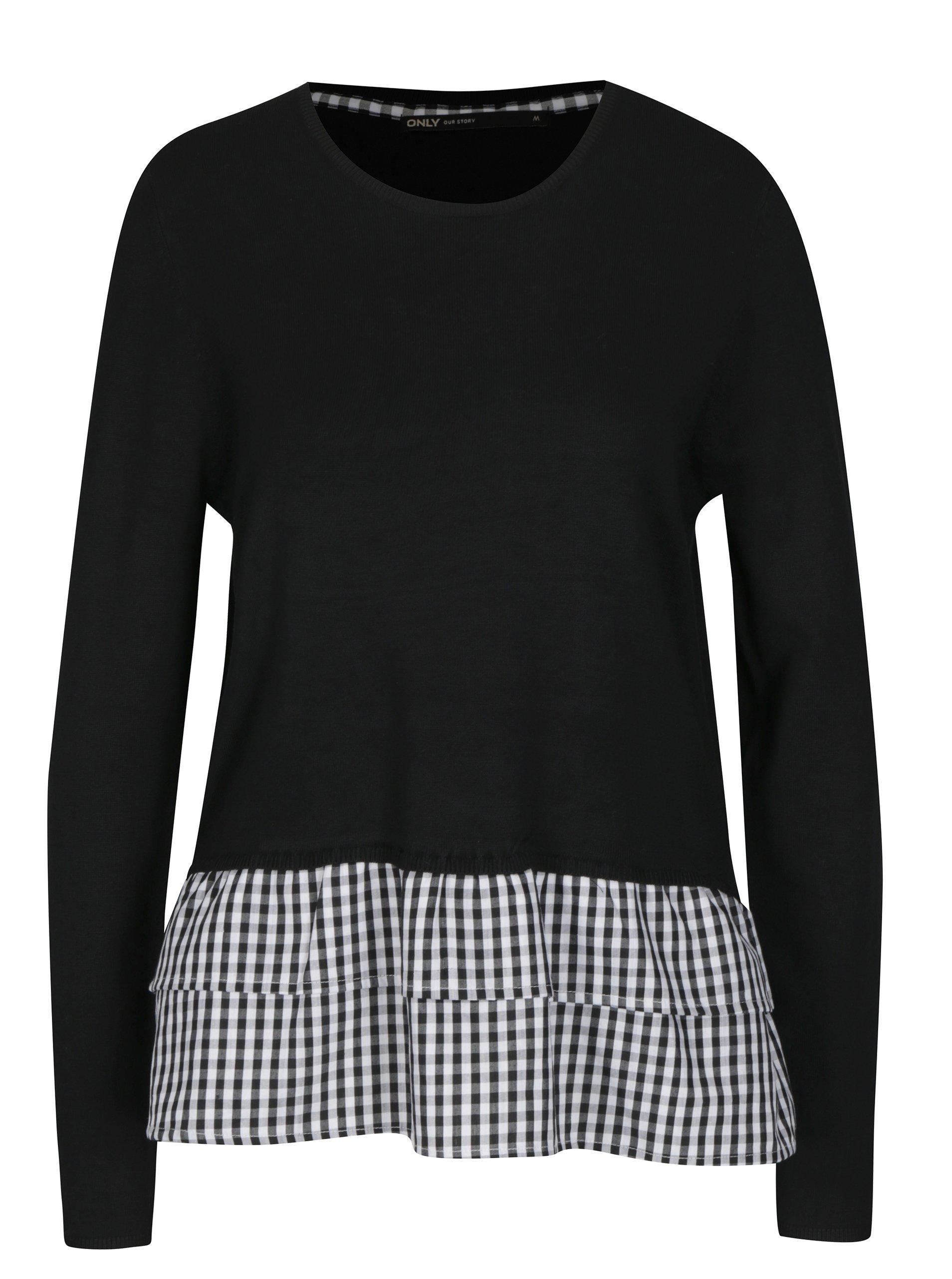 Černý lehký svetr s všitou košilovou částí ONLY Gingham