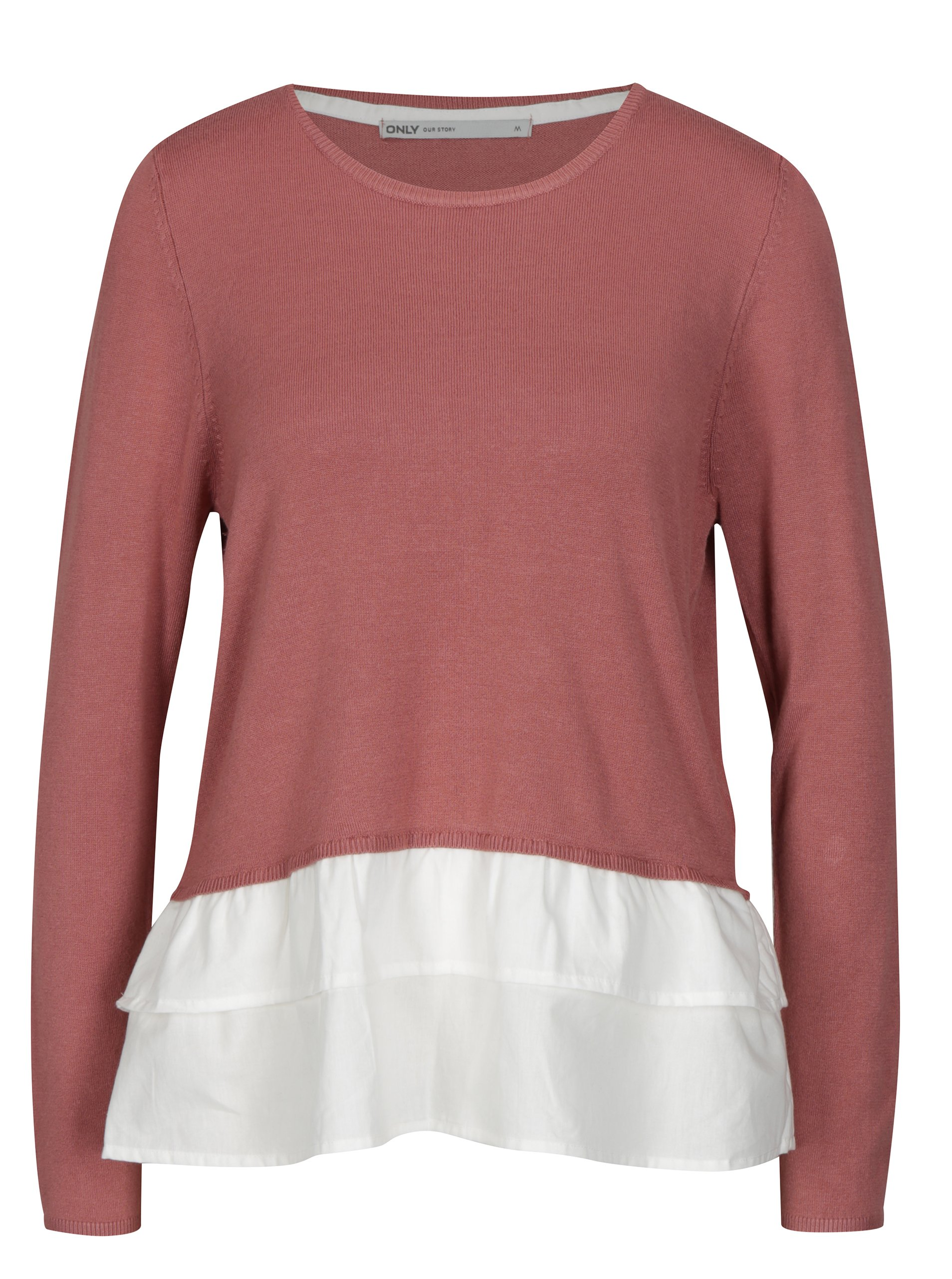 Fotografie Starorůžový lehký svetr s všitou košilovou částí ONLY Gingham